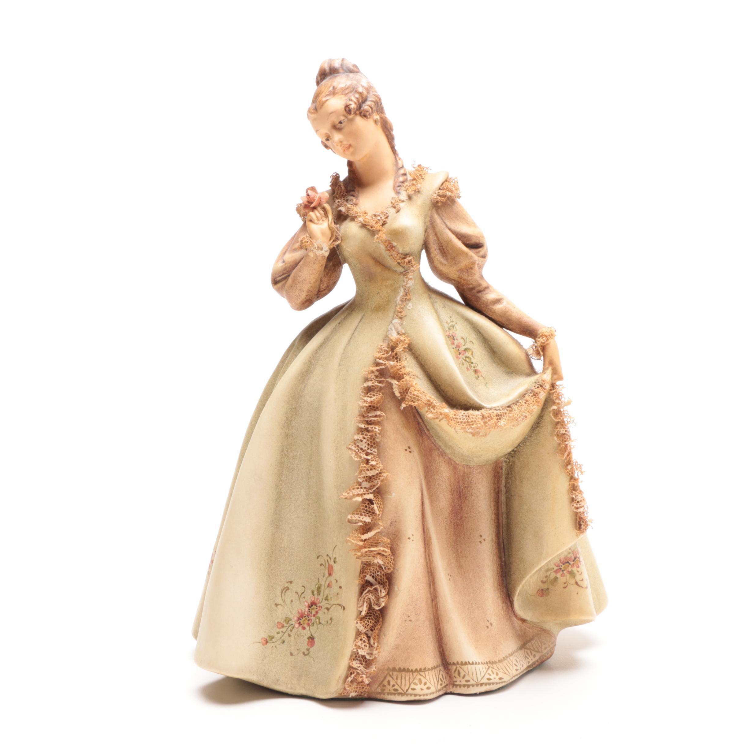 "Italian Porcelain Figurine ""Woman with Rose"" by Antonio Borsato"