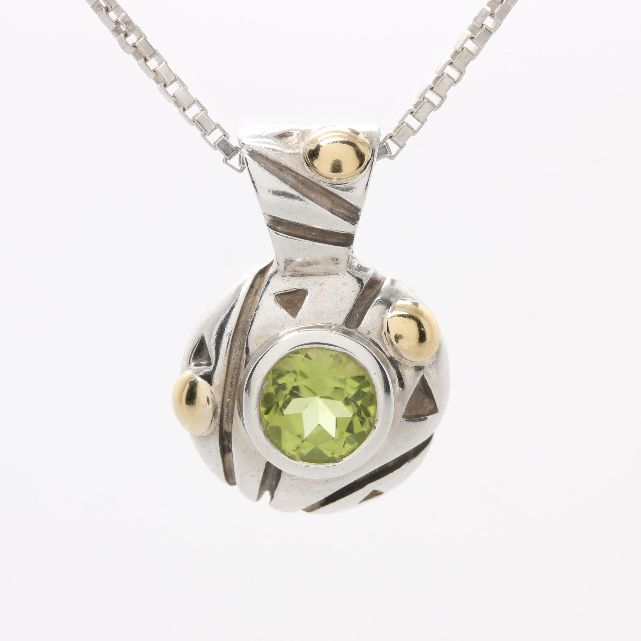 Sterling Silver and 18K Yellow Gold Peridot Necklace