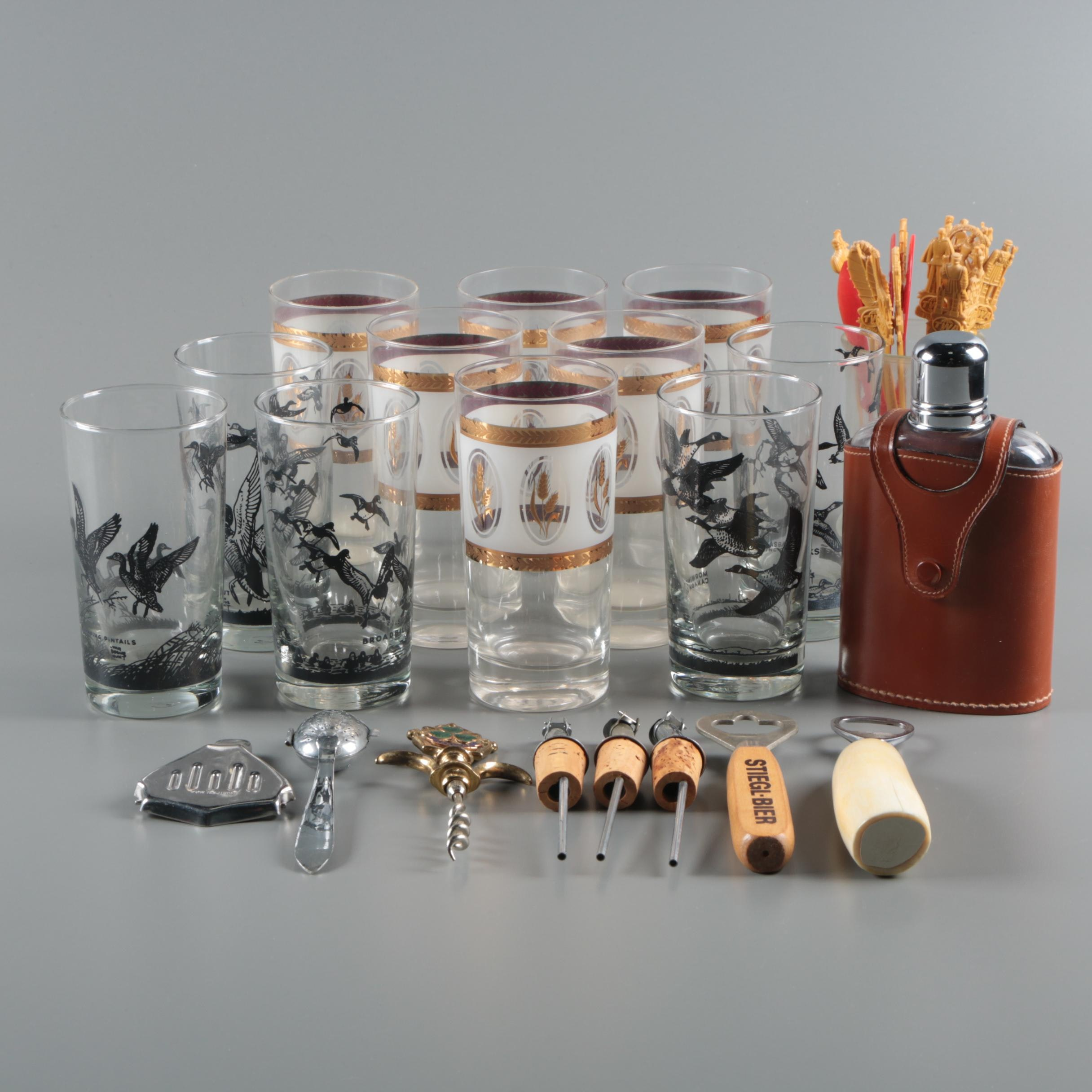 "Barware Including Lynn Bogue Hunt ""Game Bird"" Tumblers by Libbey"