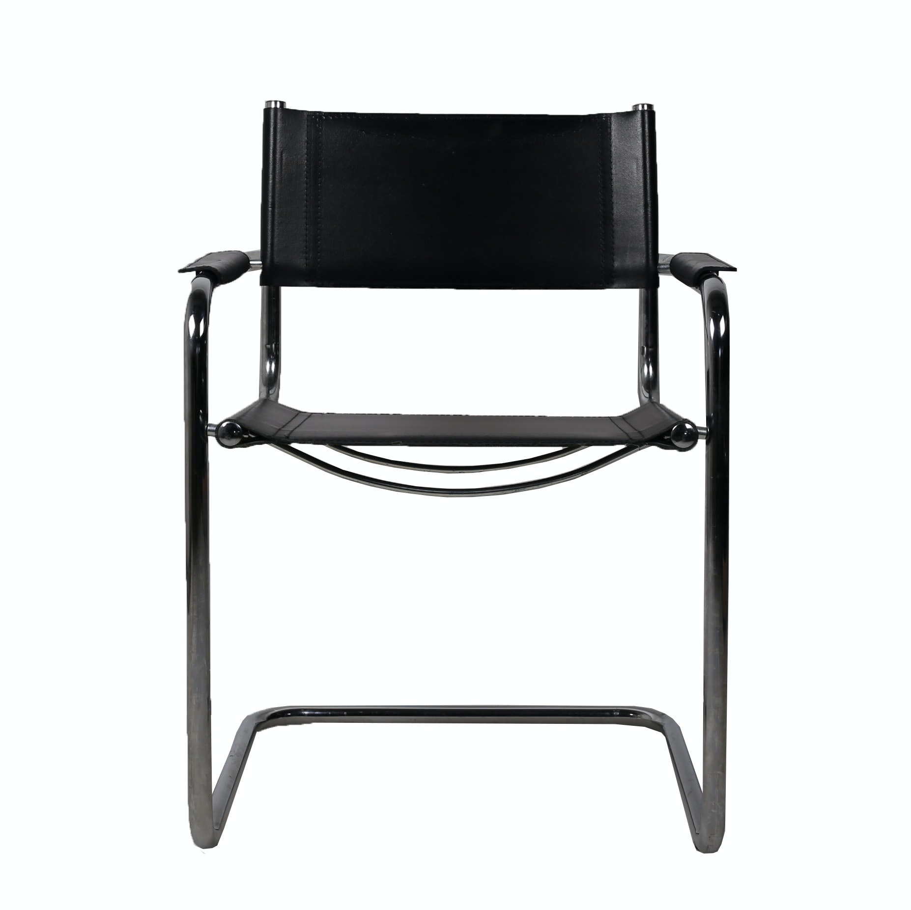 Contemporary Black Faux Leather And Metal Armchair ...