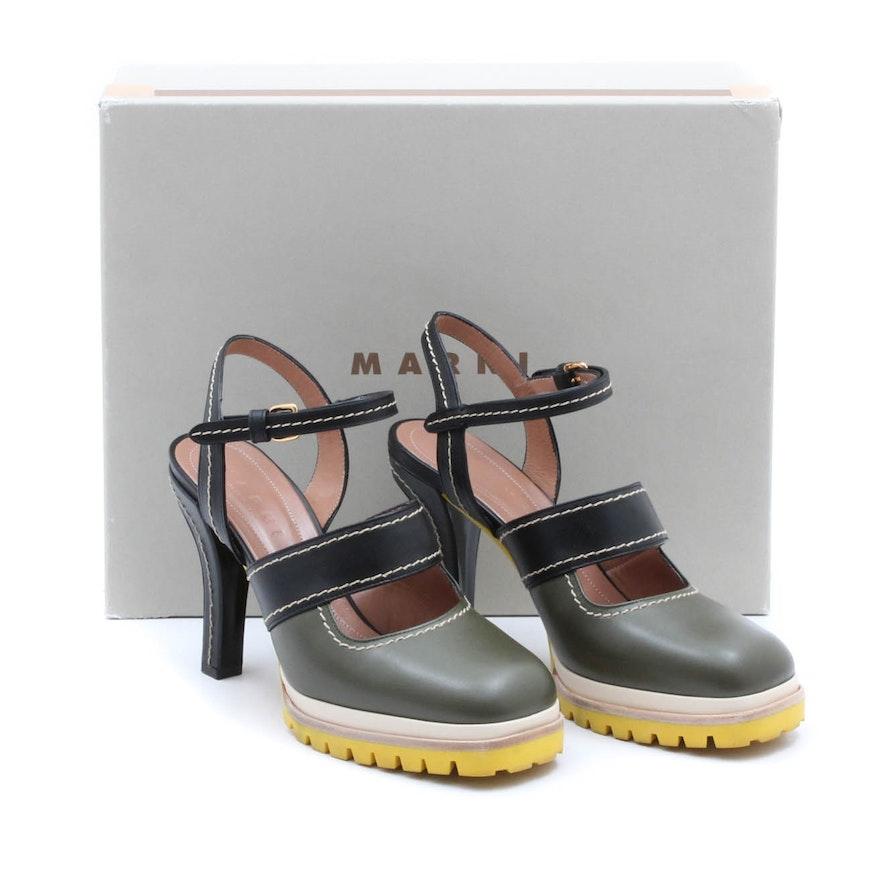 191f7648fbd Marni Olive and Black Leather High Heels   EBTH
