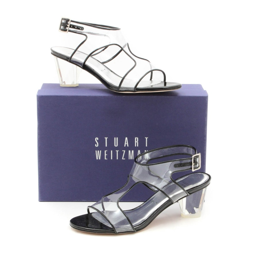 Stuart Weitzman Seeallmid Black Patent Lucite Heeled Sandals   EBTH