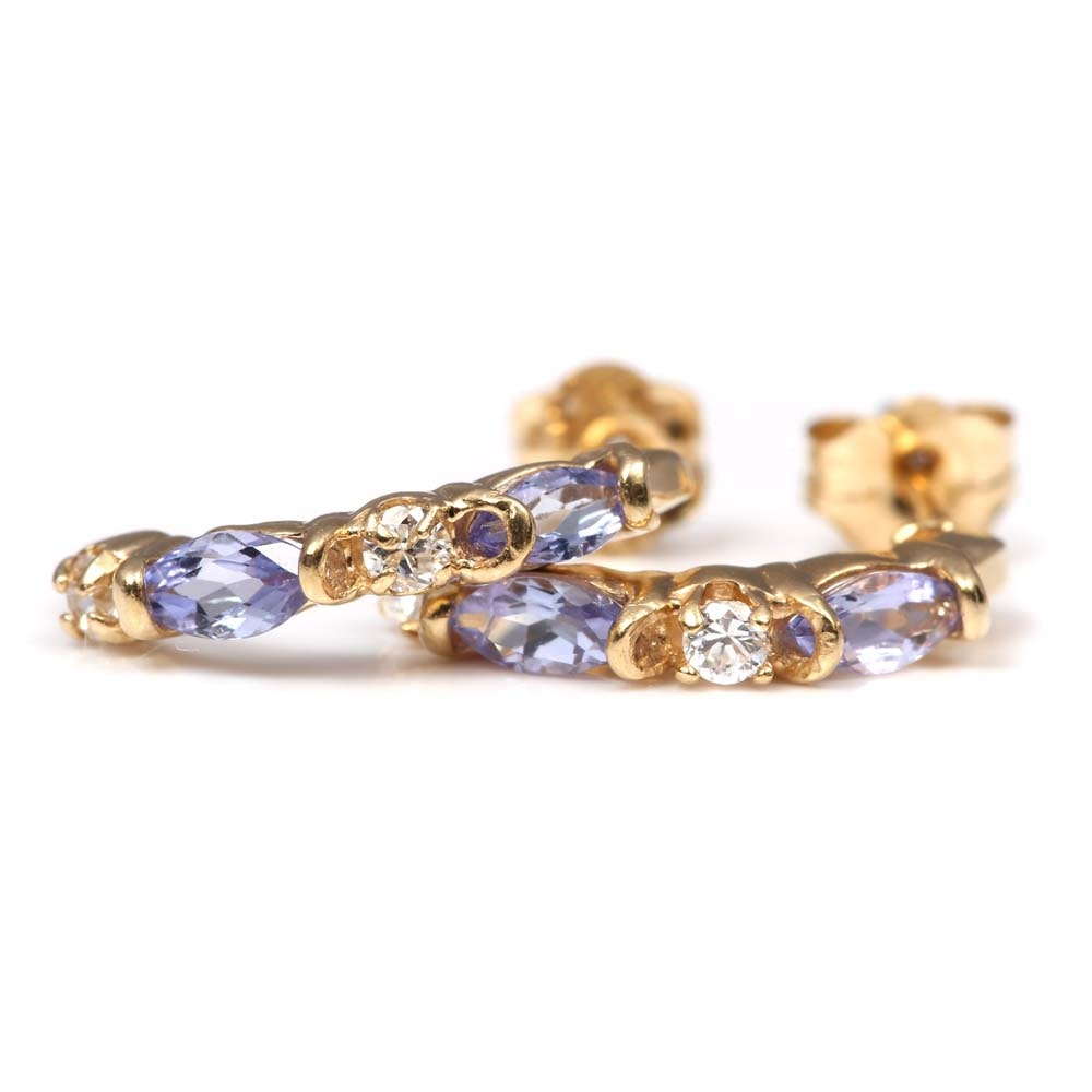 10K Yellow Gold Tanzanite and Cubic Zirconia Earrings