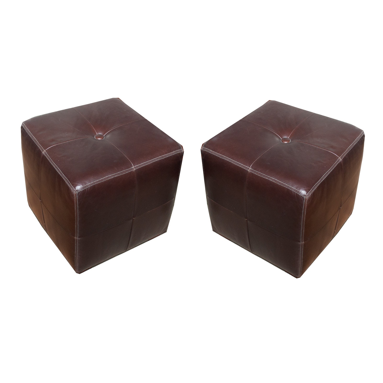 Pottery Barn Brown Leather Poufs