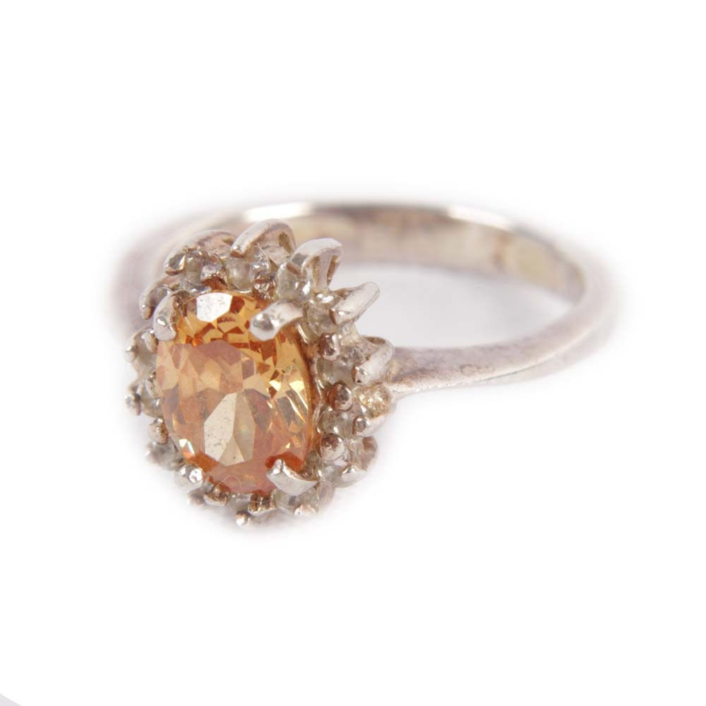 Sterling Silver 1.24 CT Citrine and Cubic Zirconia Halo Ring