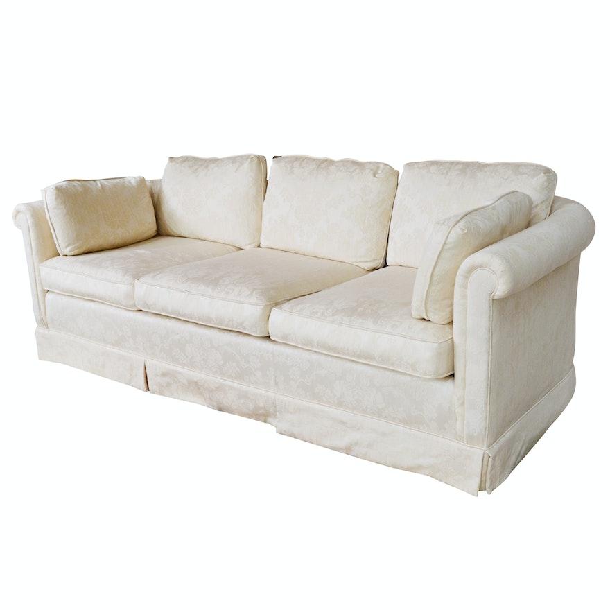 Cream Damask Upholstered Roll Back Sofa