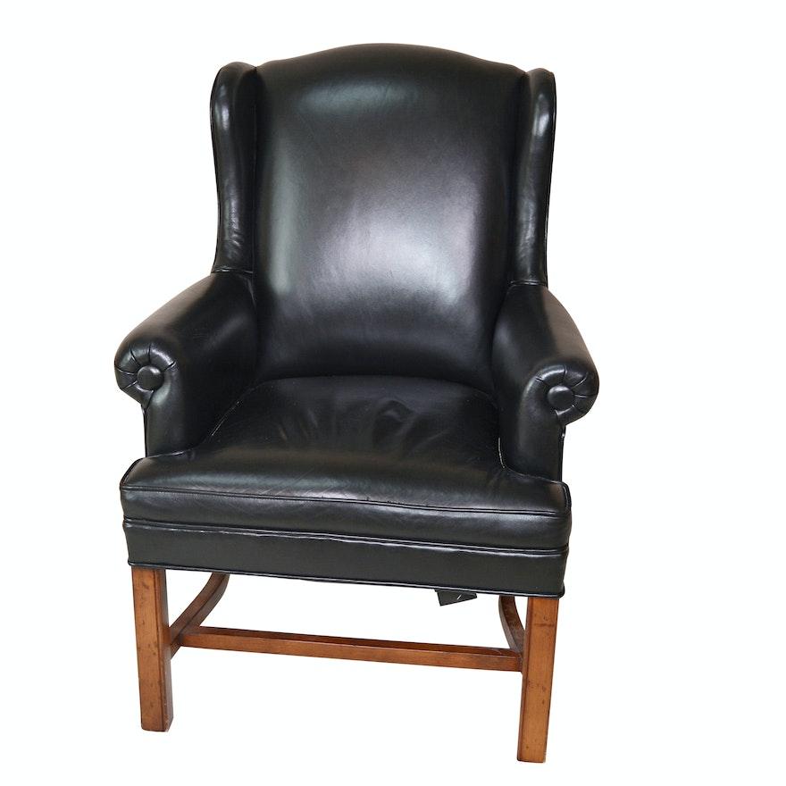 Black Leather Petite Wing Chair by Ferguson Copeland, Ltd.