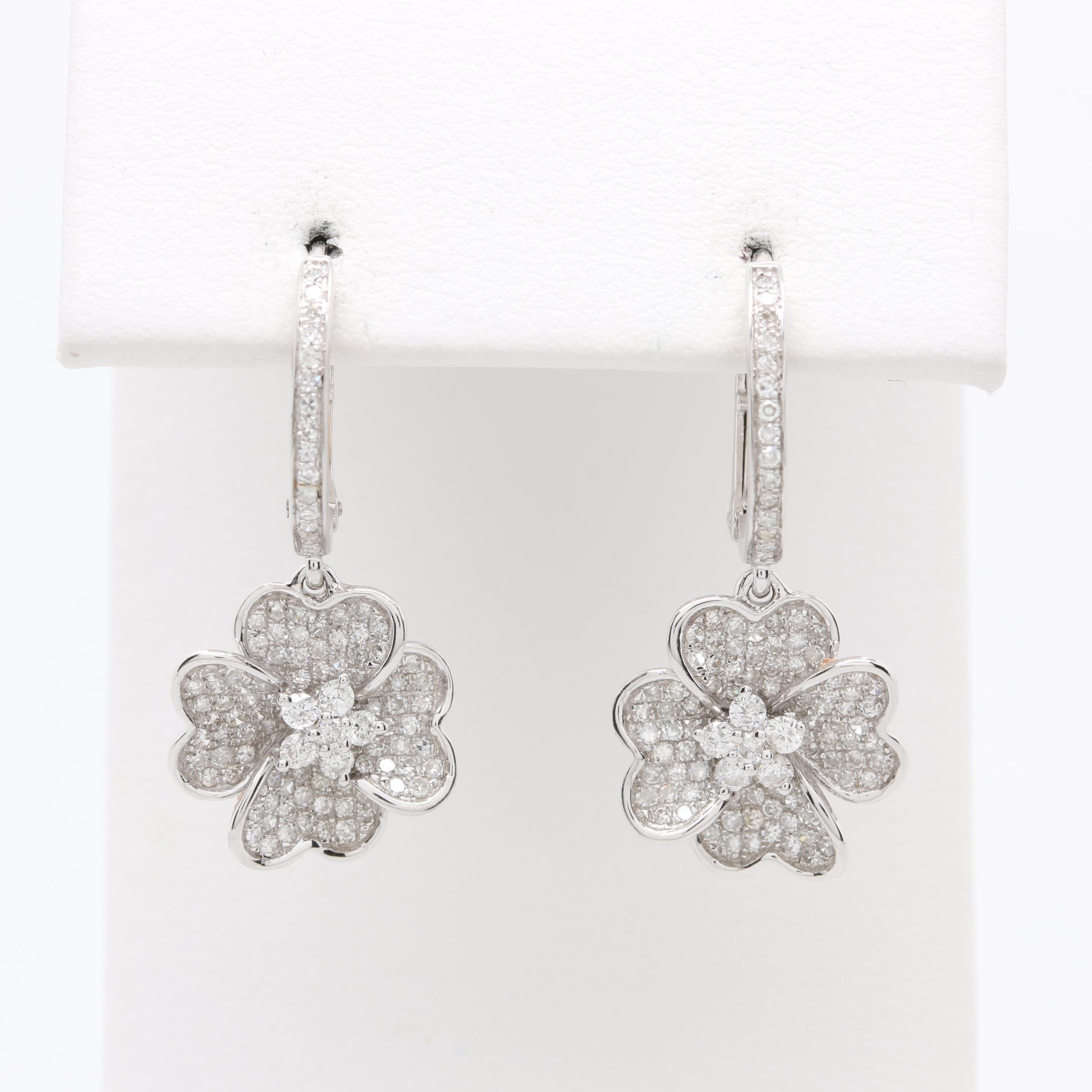 14K White Gold 1.02 CTW Diamond Flower Earrings