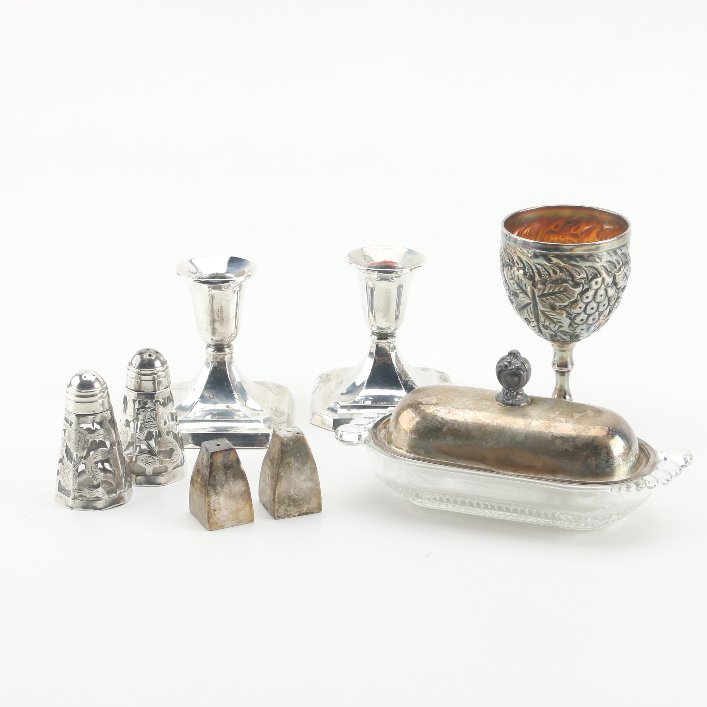 Revere Weighted Sterling Candleholder with Mexican Sterling and Silver Plate