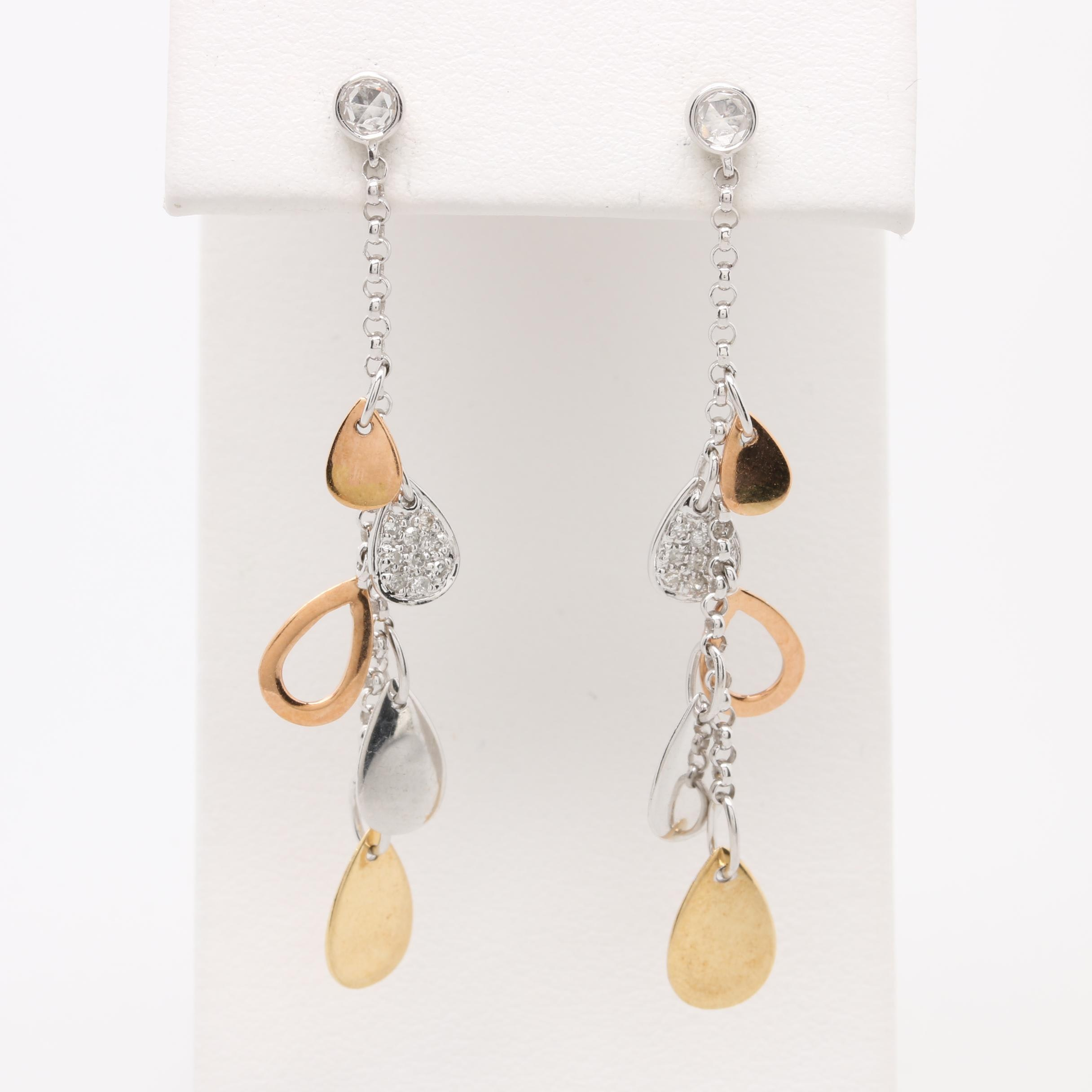 14K Tri Color Gold Diamond Dangle Earrings