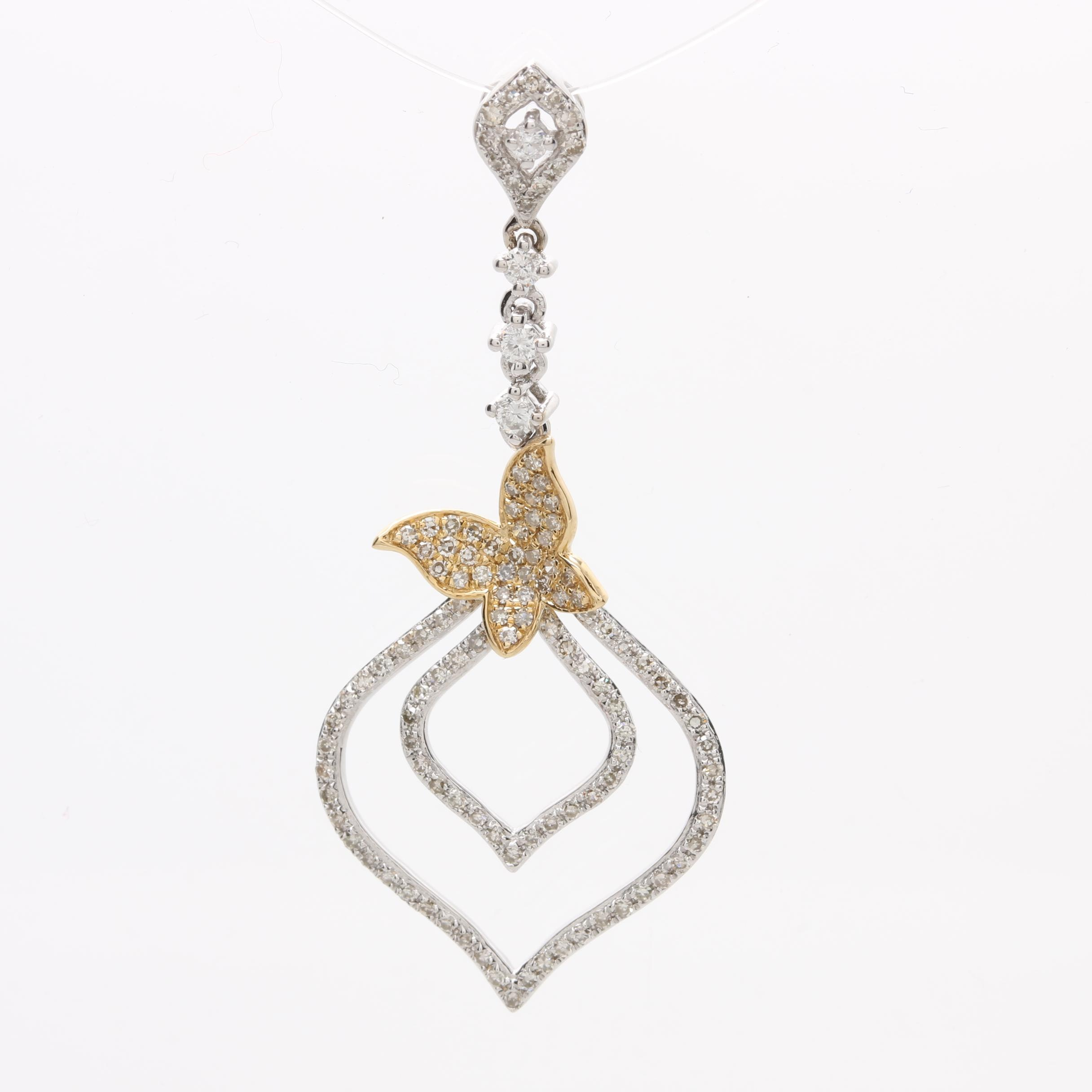 14K White Gold Diamond Pendant with Yellow Gold Accent