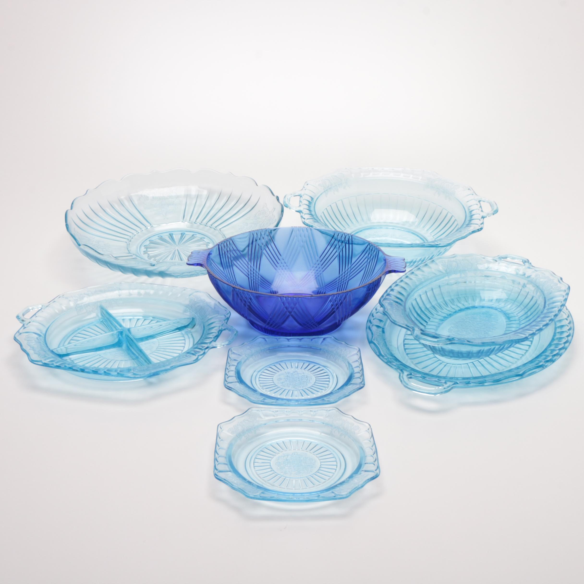 Vintage Blue Depression Glass Serveware