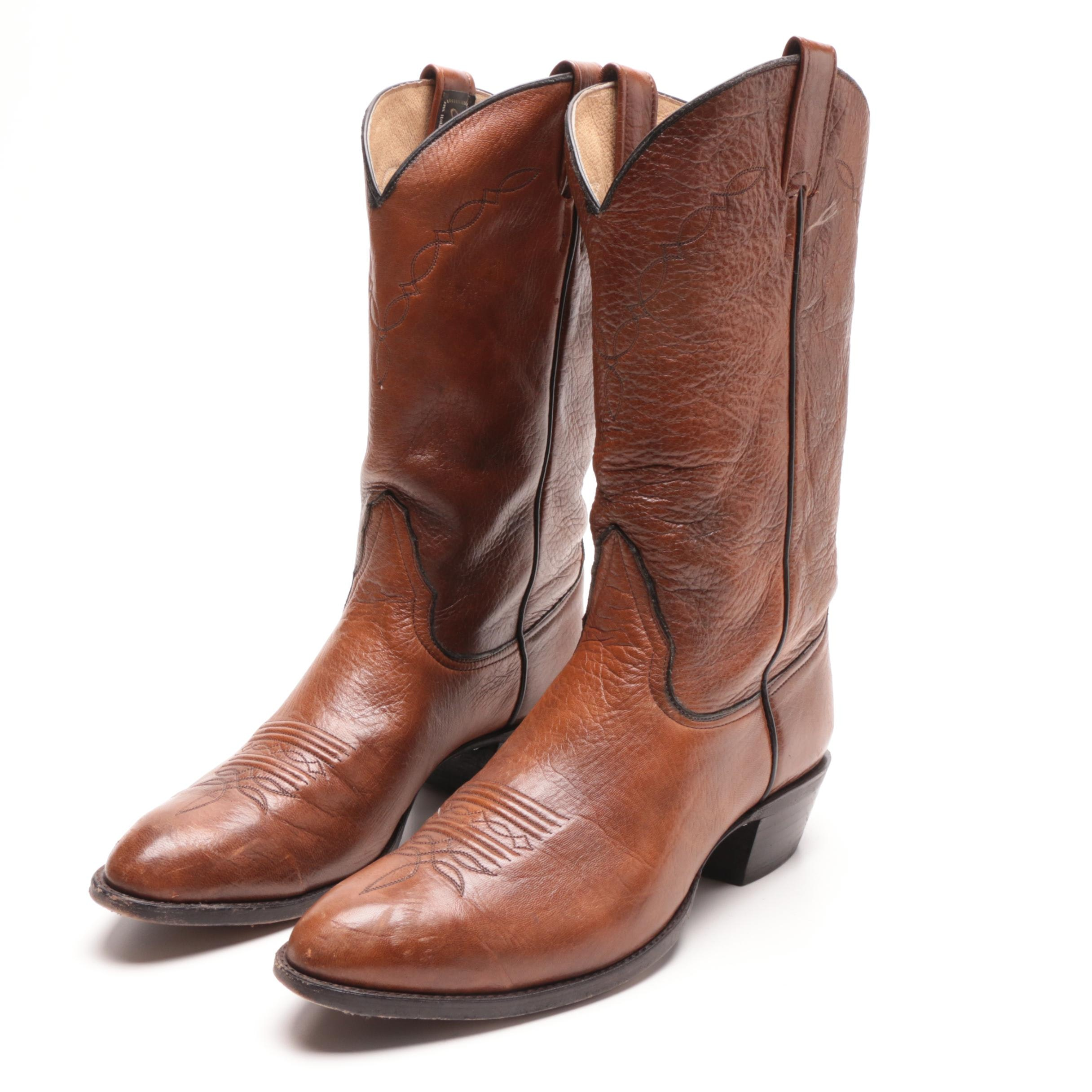 Men's Larry Mahan of El Paso, Texas Hand Crafted Brown Leather Cowboy Boots