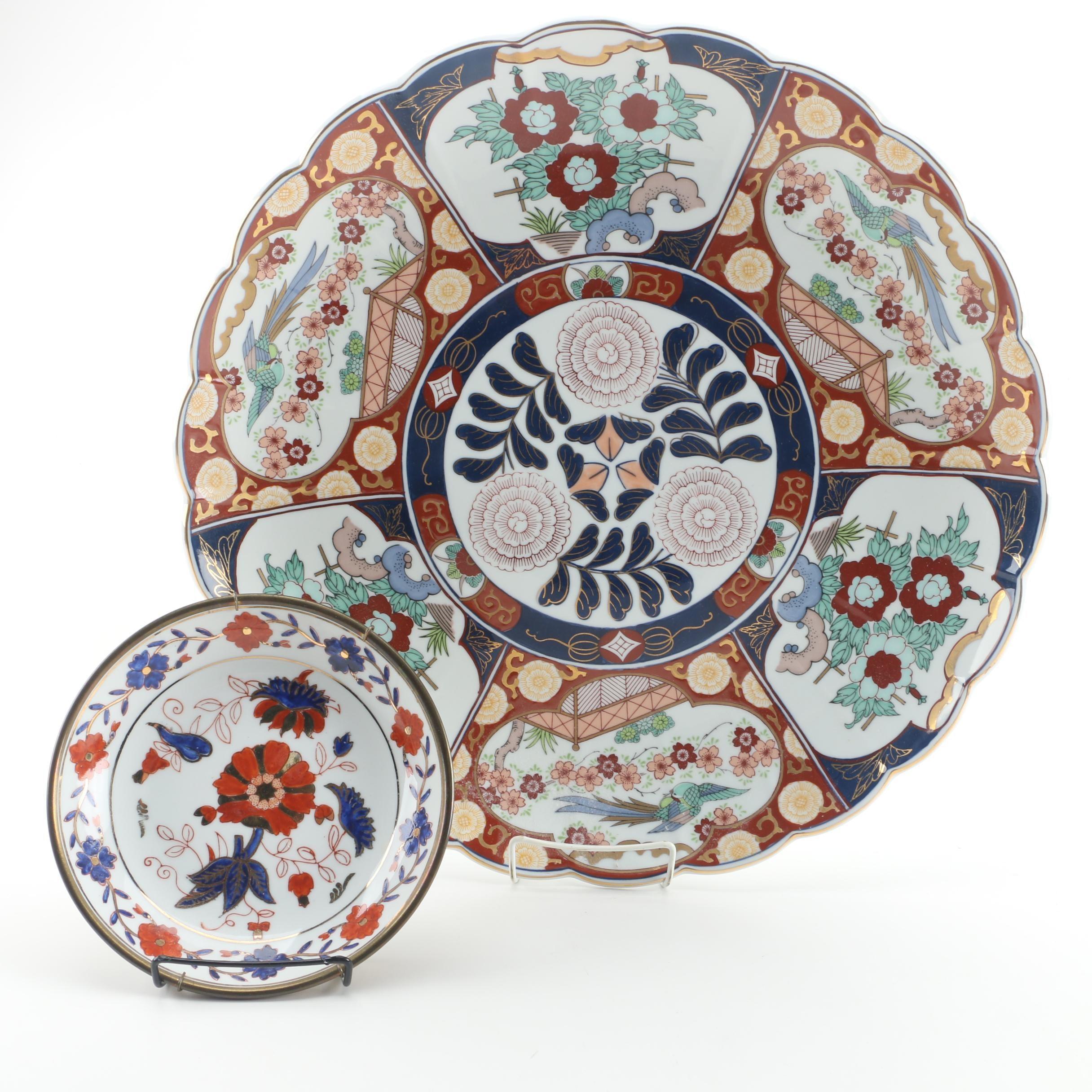 Imari Decorative Porcelain Plates Including Gold Imari