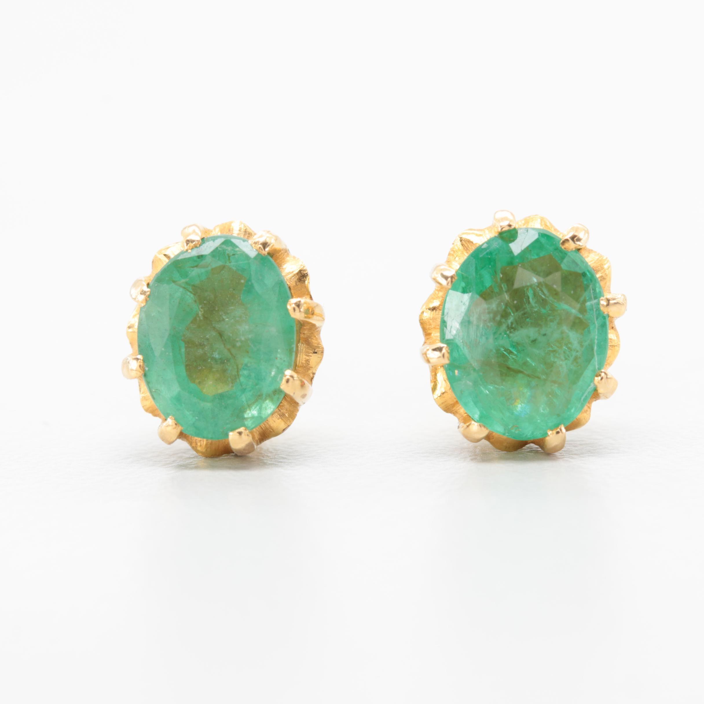 18K Yellow Gold 2.29 CTW Emerald Earrings