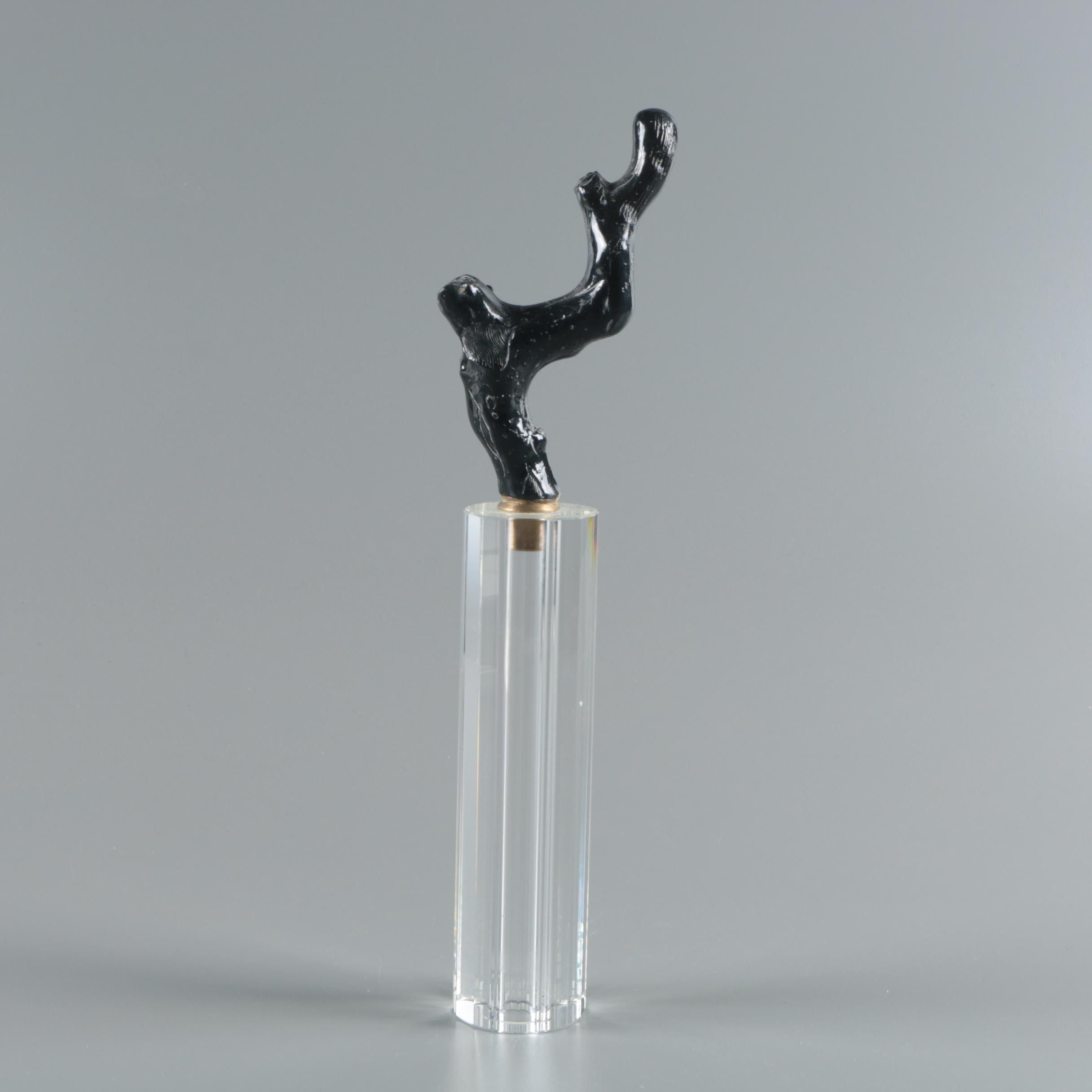 Black Coral Sculpture on Cylindrical Crystal Base
