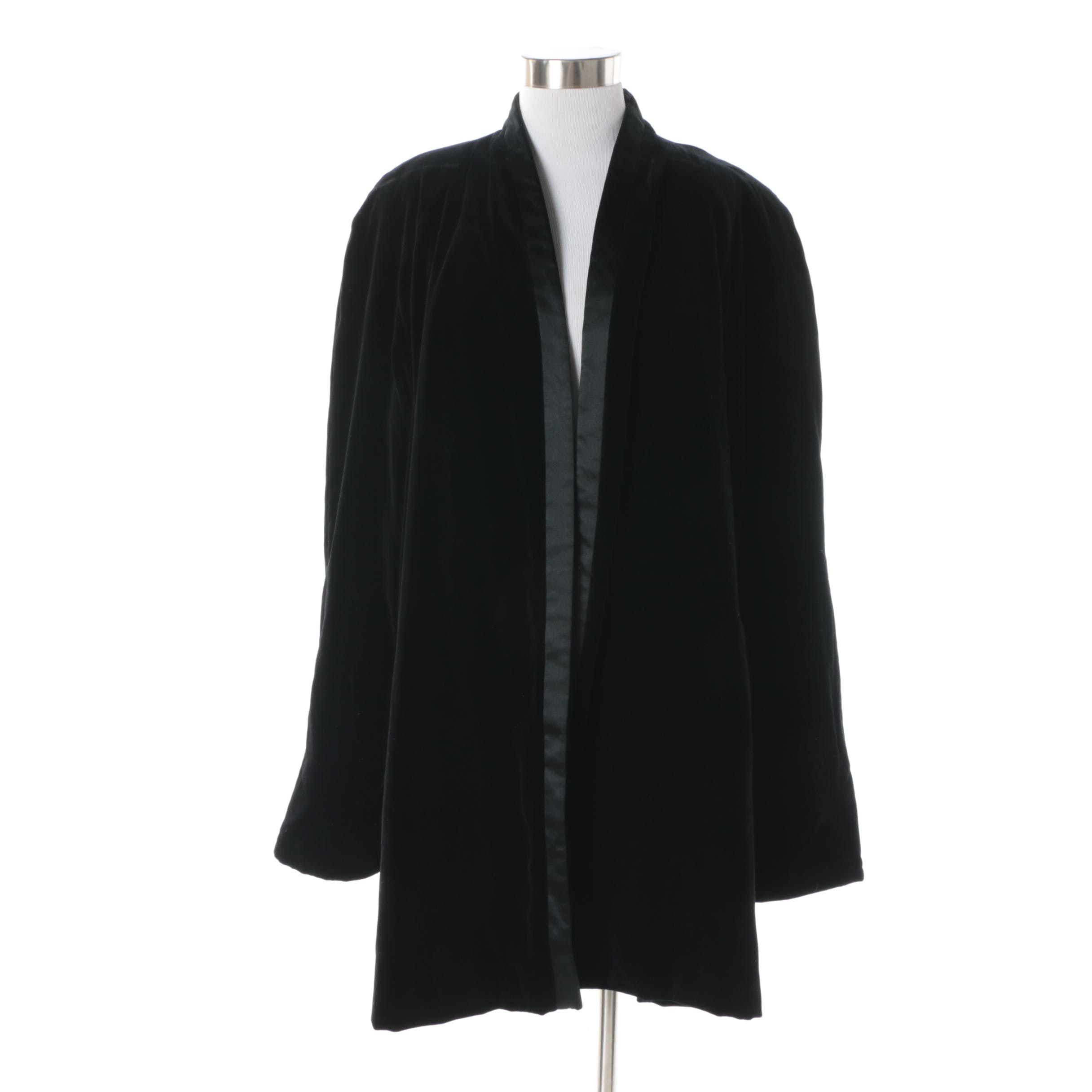 1980s Vintage Escada Couture Black Velvet Opera Coat with Quilted Lining