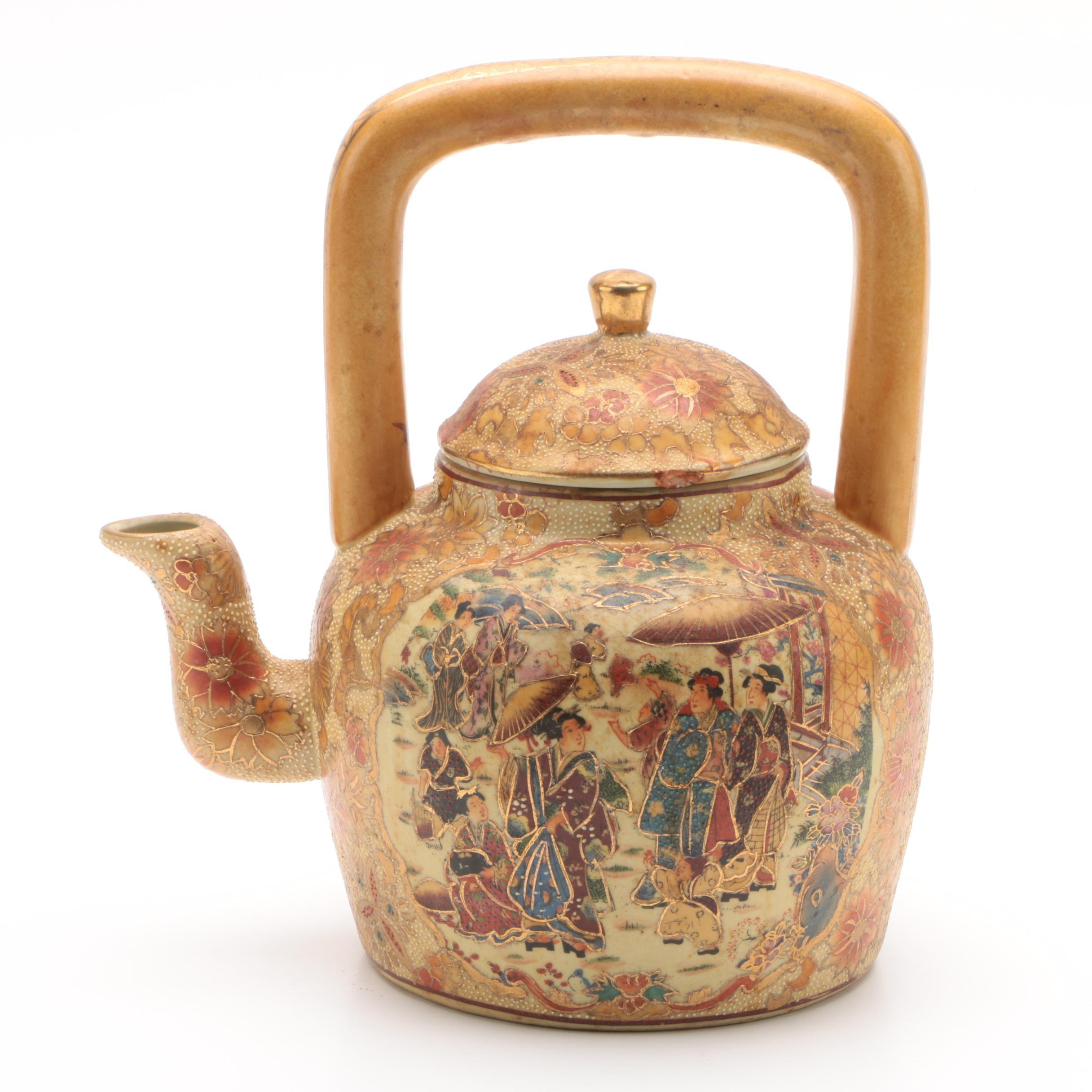 Vintage Chinese Satsuma Style Ceramic Teapot