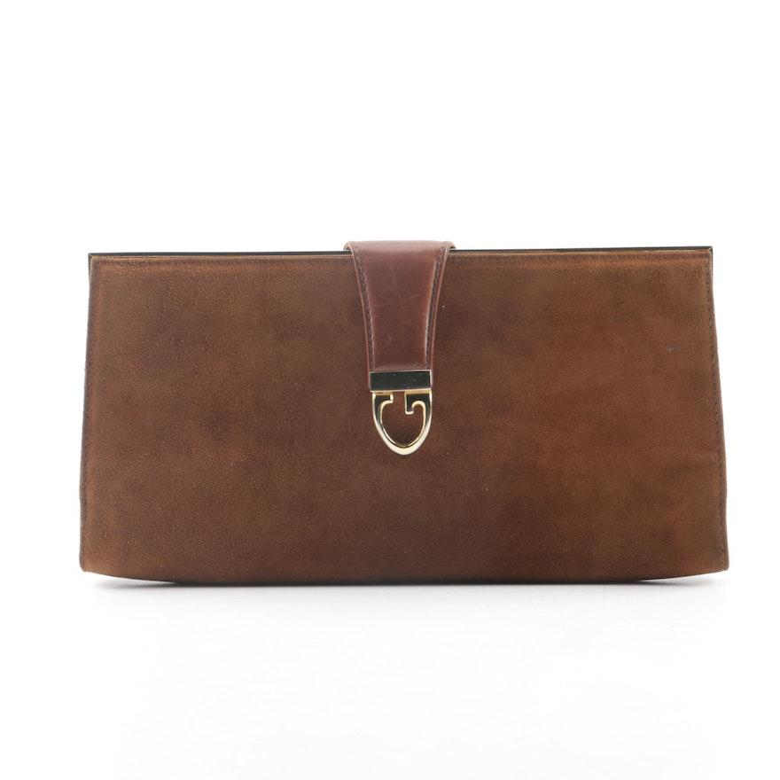 edec3212b4d Circa 1970s Vintage Gucci Chestnut Brown Suede Clutch   EBTH