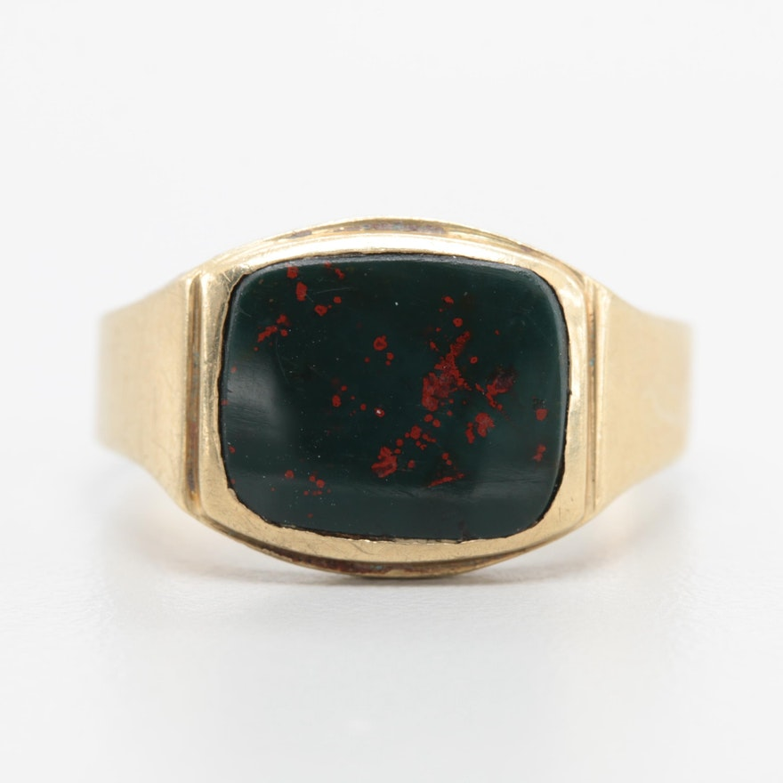 10K Yellow Gold Bloodstone Ring