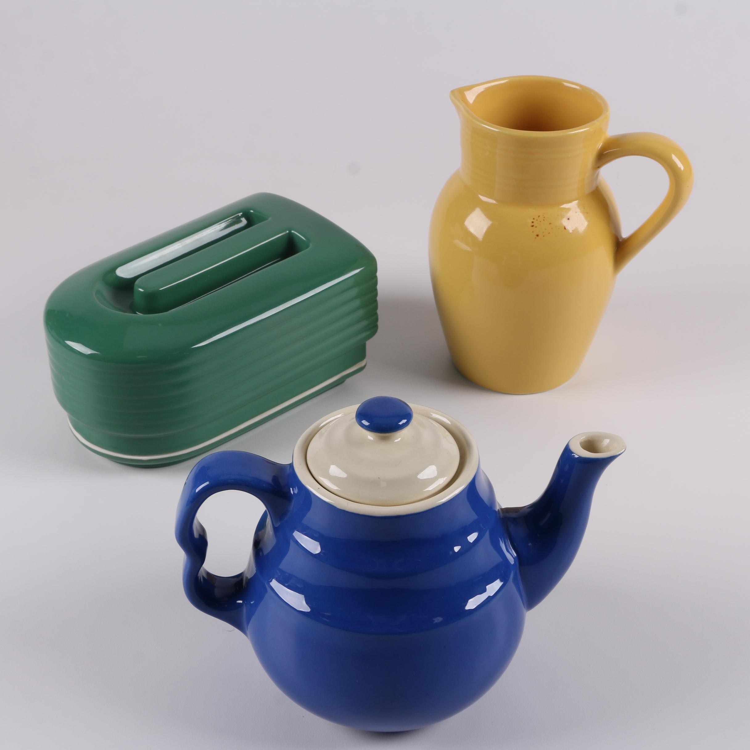 Vintage Hall for Westinghouse Refrigerator Container and Oxford Stoneware Teapot