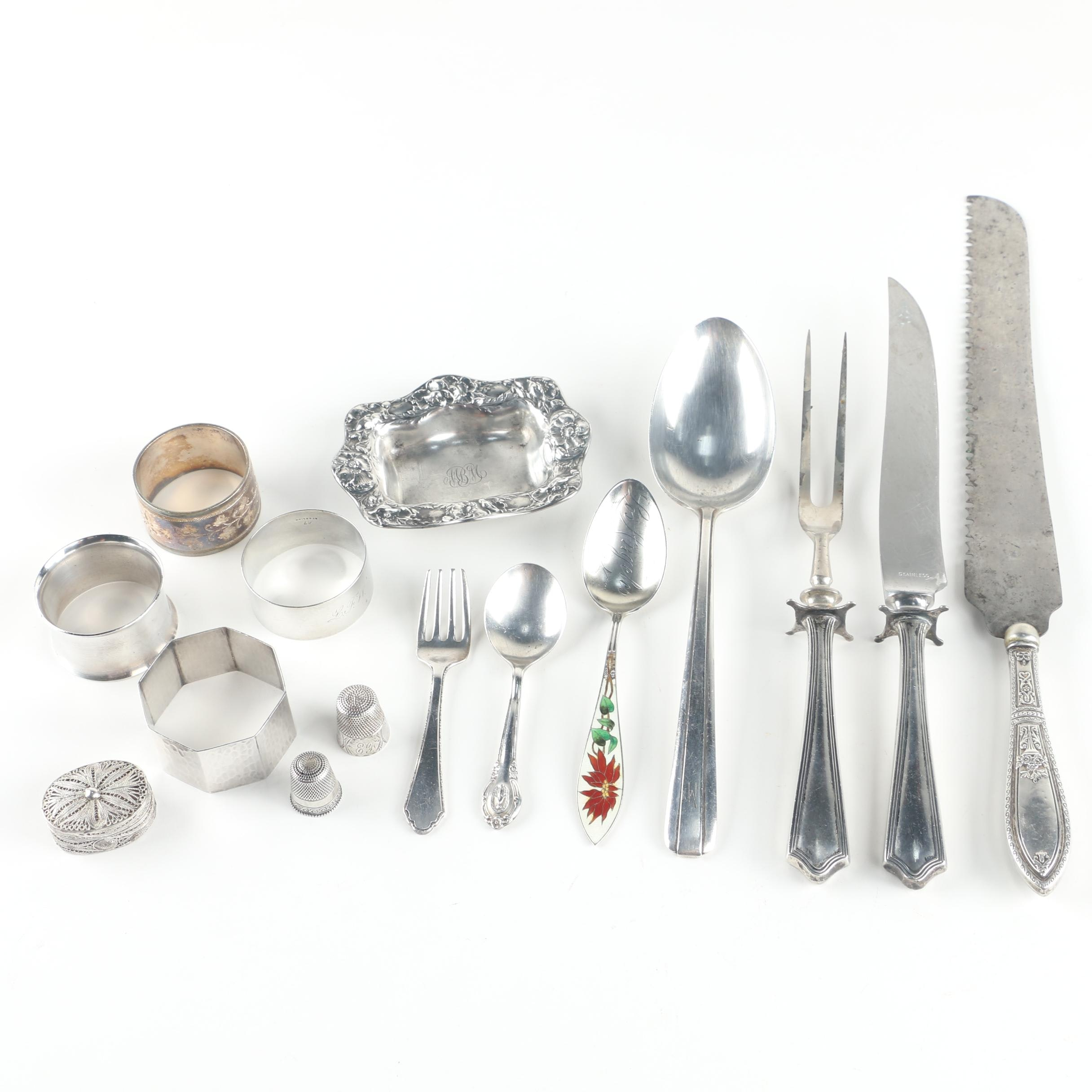 """Watson Company """"Mayflower"""" Sterling Carving Set with Other Sterling Tableware"""