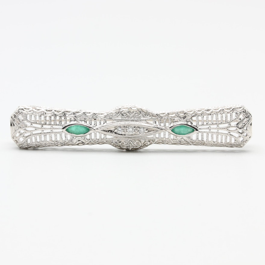 fc24c5a1a70 Vintage Art Deco Inspired 14K White Gold Emerald and Diamond Brooch   EBTH