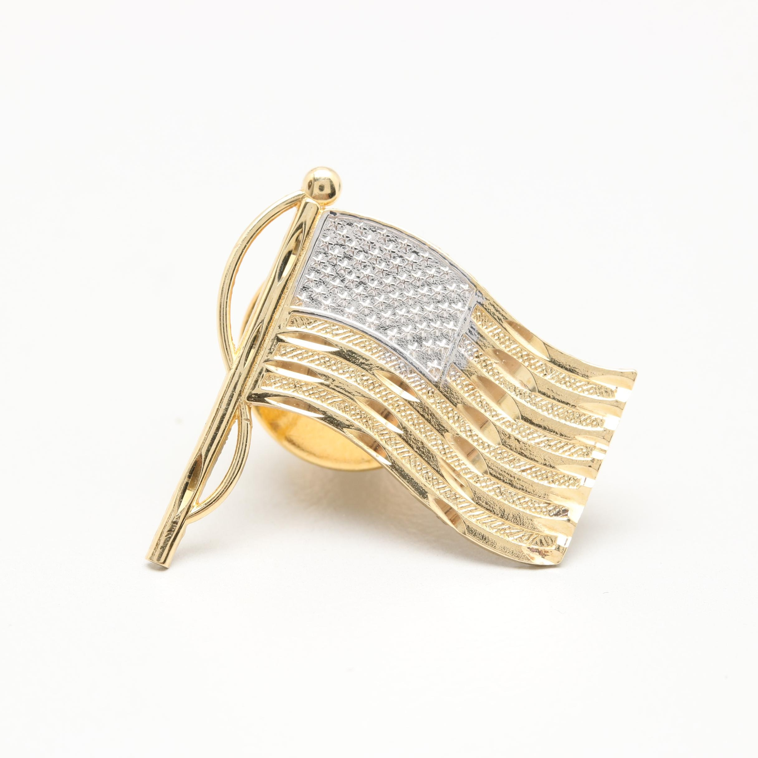14K Yellow and White Gold American Flag Lapel Pin