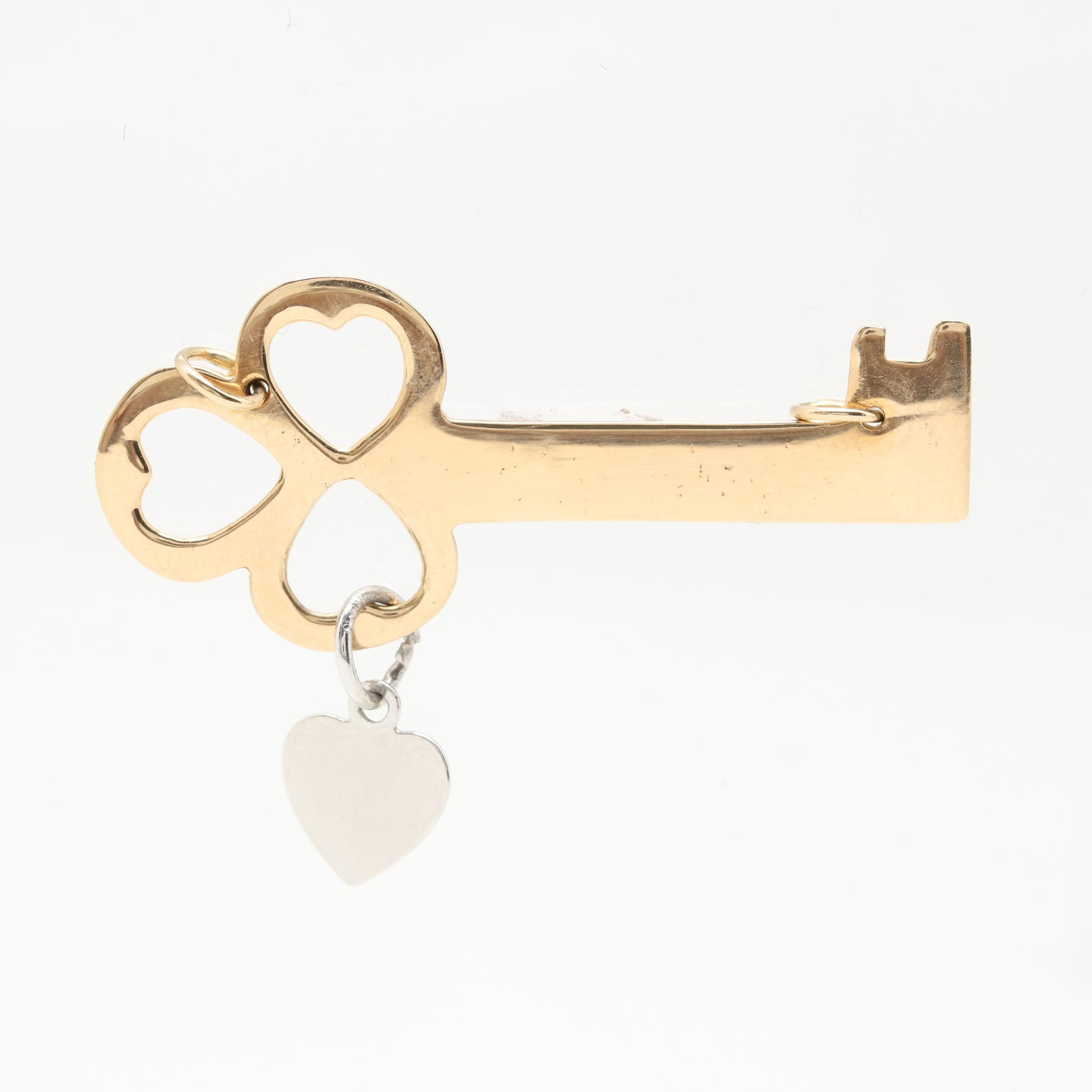 14K Yellow Gold Key Pendant With Sterling Silver Heart Charm