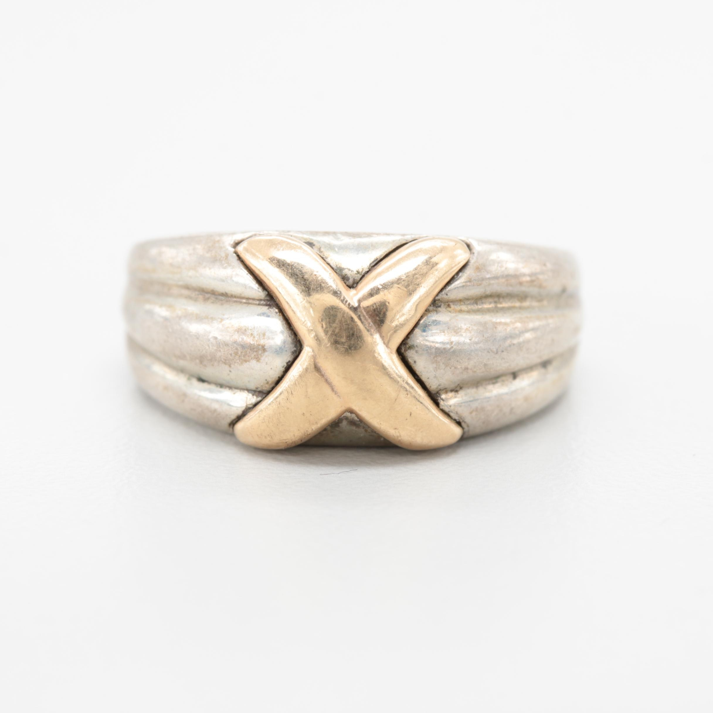 Sterling Silver Ring With 14K Yellow Gold Accent