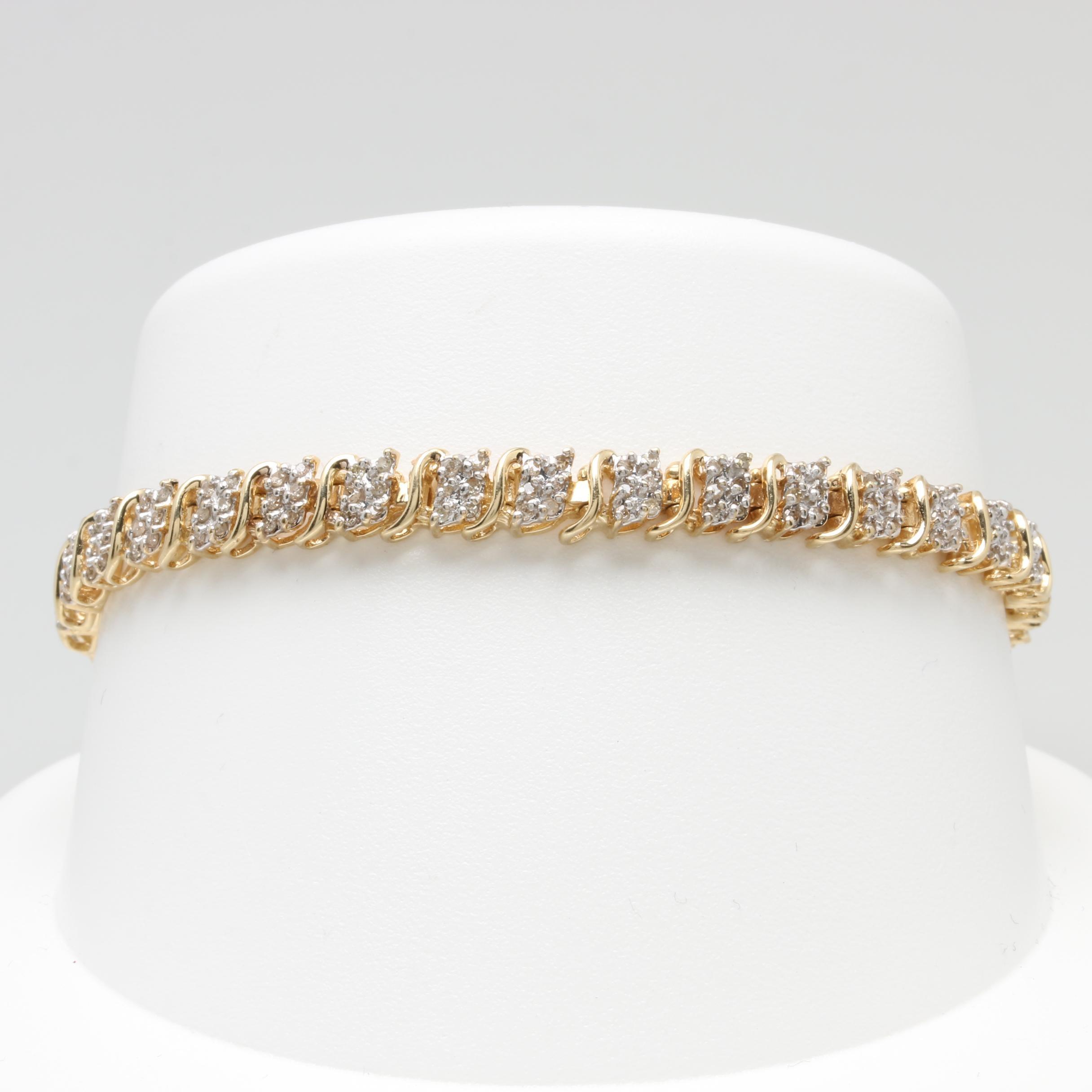 10K Yellow Gold 1.02 CTW Diamond Tennis Bracelet