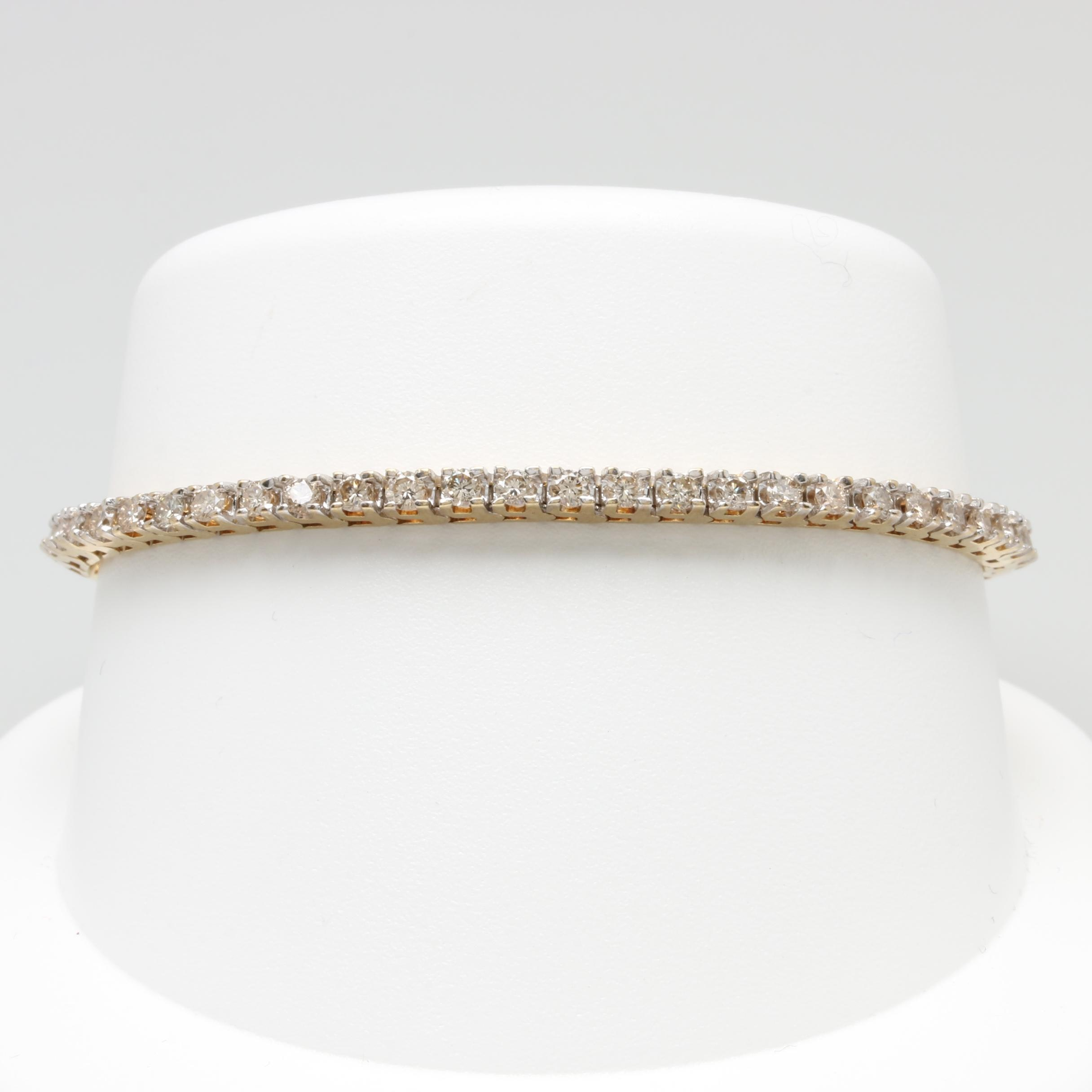 10K Yellow Gold 2.75 CTW Diamond Tennis Bracelet
