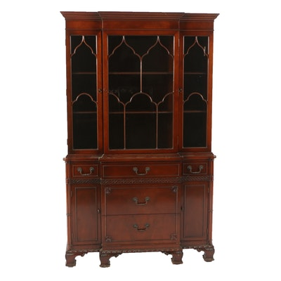 Vintage Federal Style Mahogany Breakfront China Cabinet by Fancher Furniture - Online Furniture Auctions Vintage Furniture Auction Antique