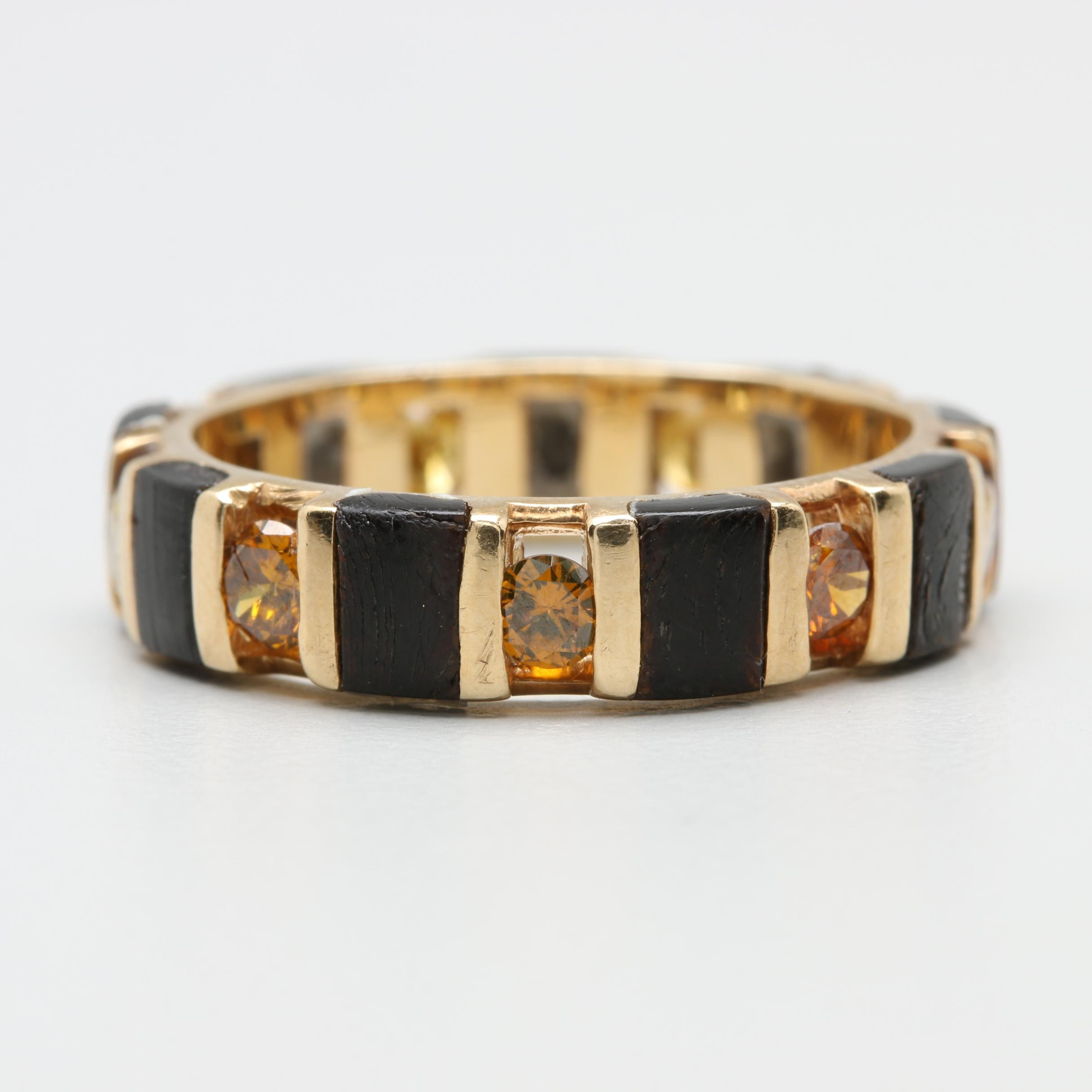 14K Yellow Gold Diamond and Black Coral Eternity Ring