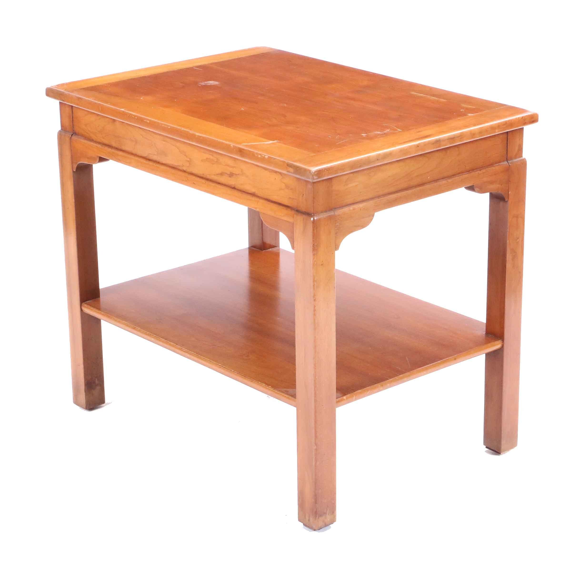 Cherry Wood Side Table Ebth
