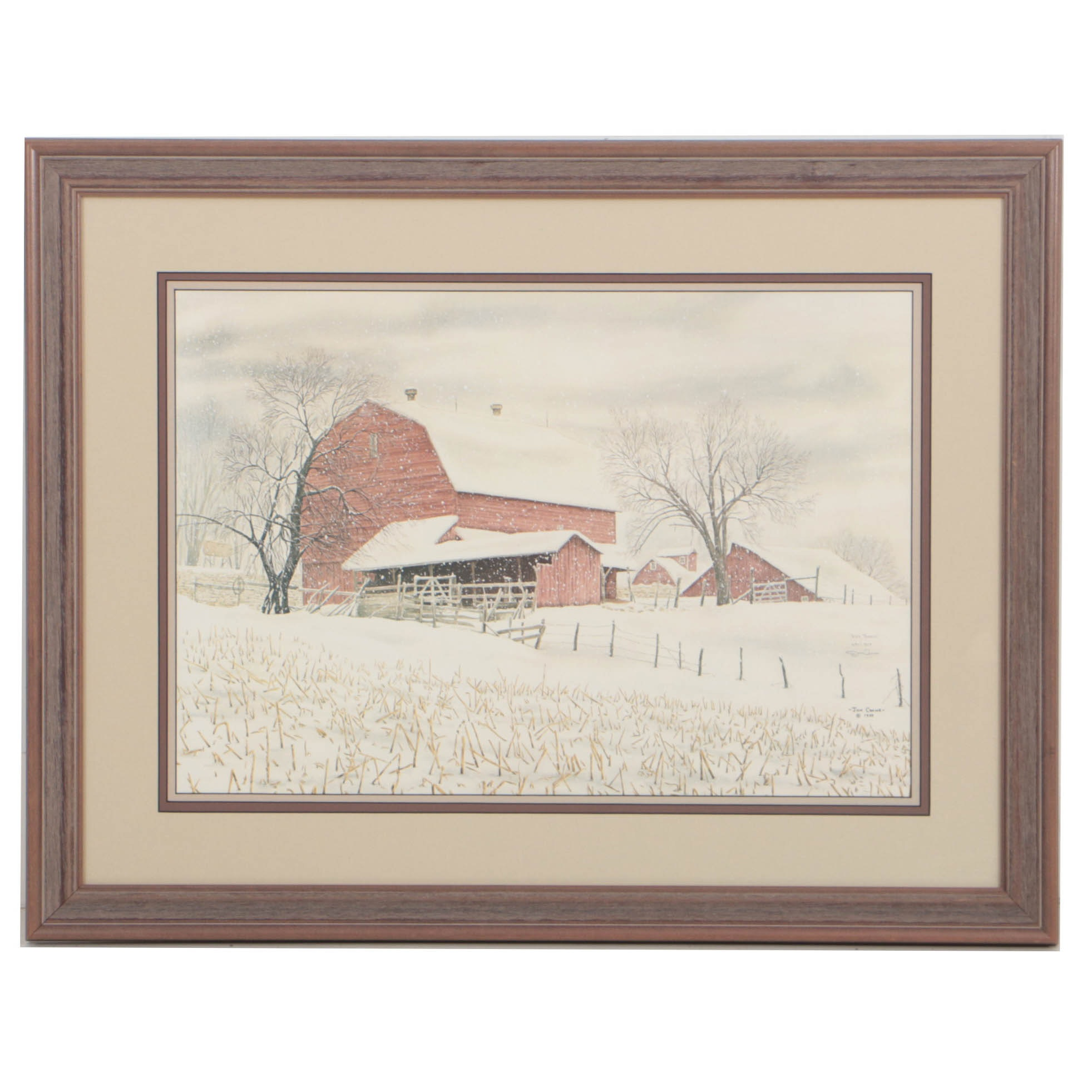 """Jon Crane Limited Edition Offset Lithograph on Paper """"Red Barns"""""""