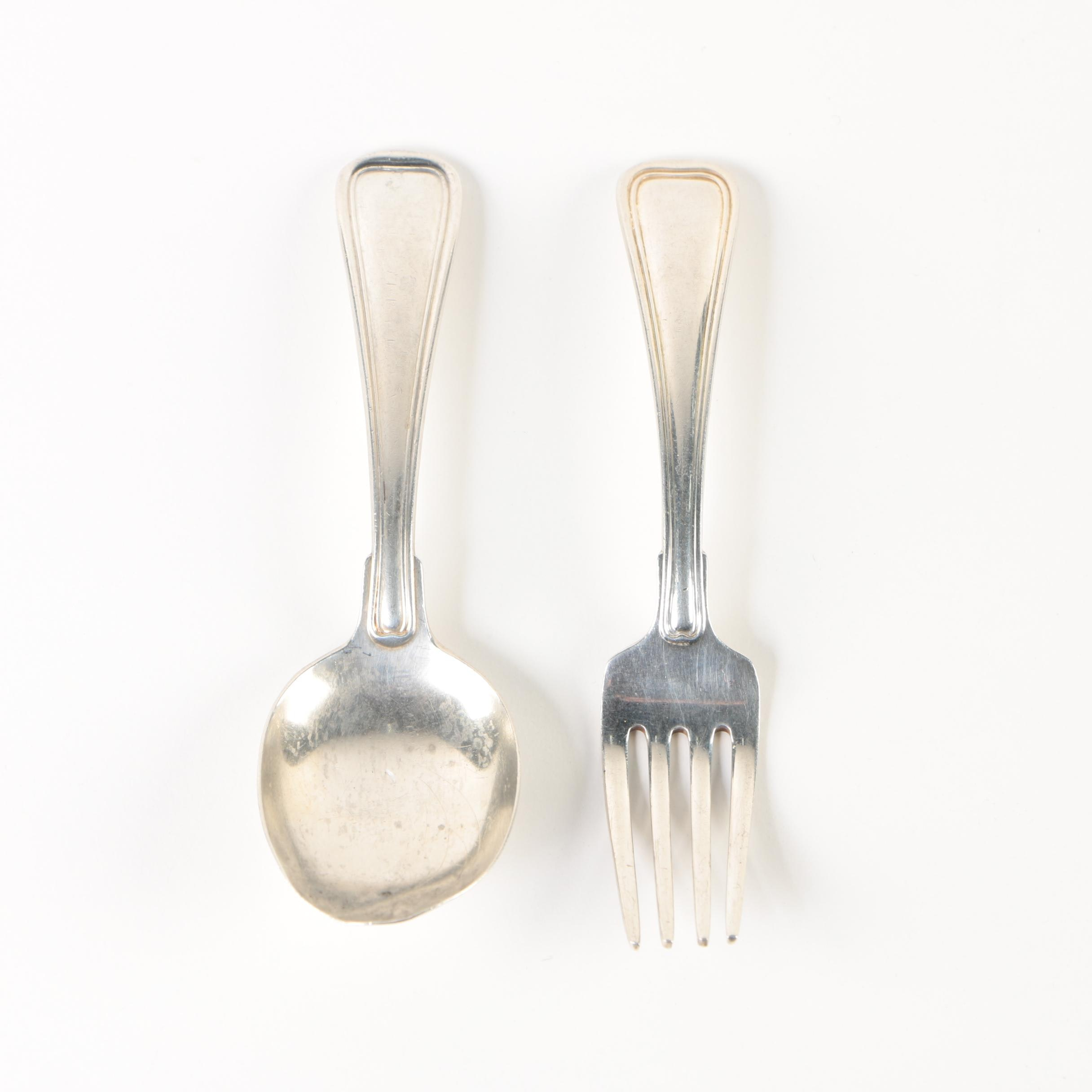 """Gorham """"Old French"""" Sterling Silver Baby Fork and Spoon Pair"""