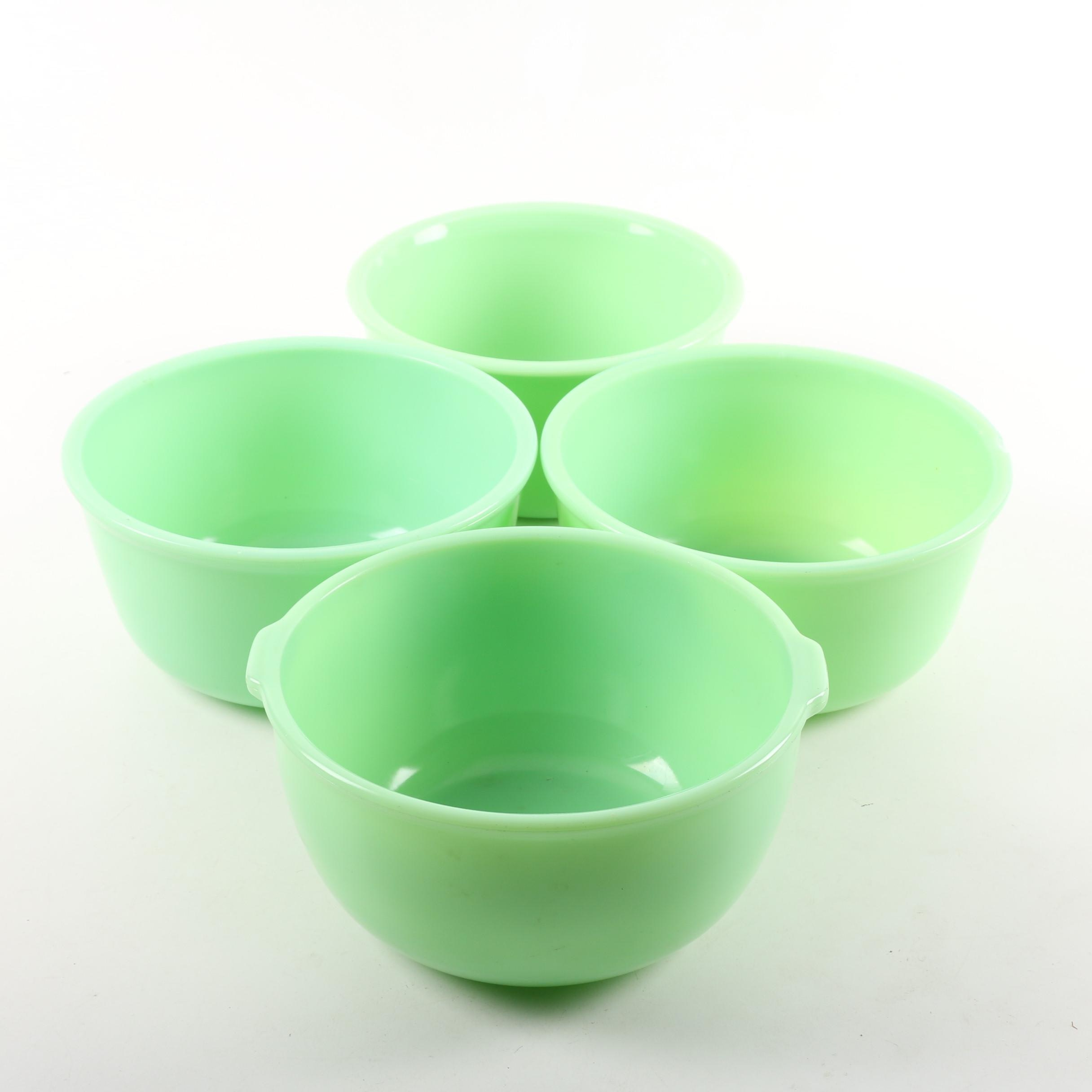 Vintage Green Milk Glass Mixing Bowls