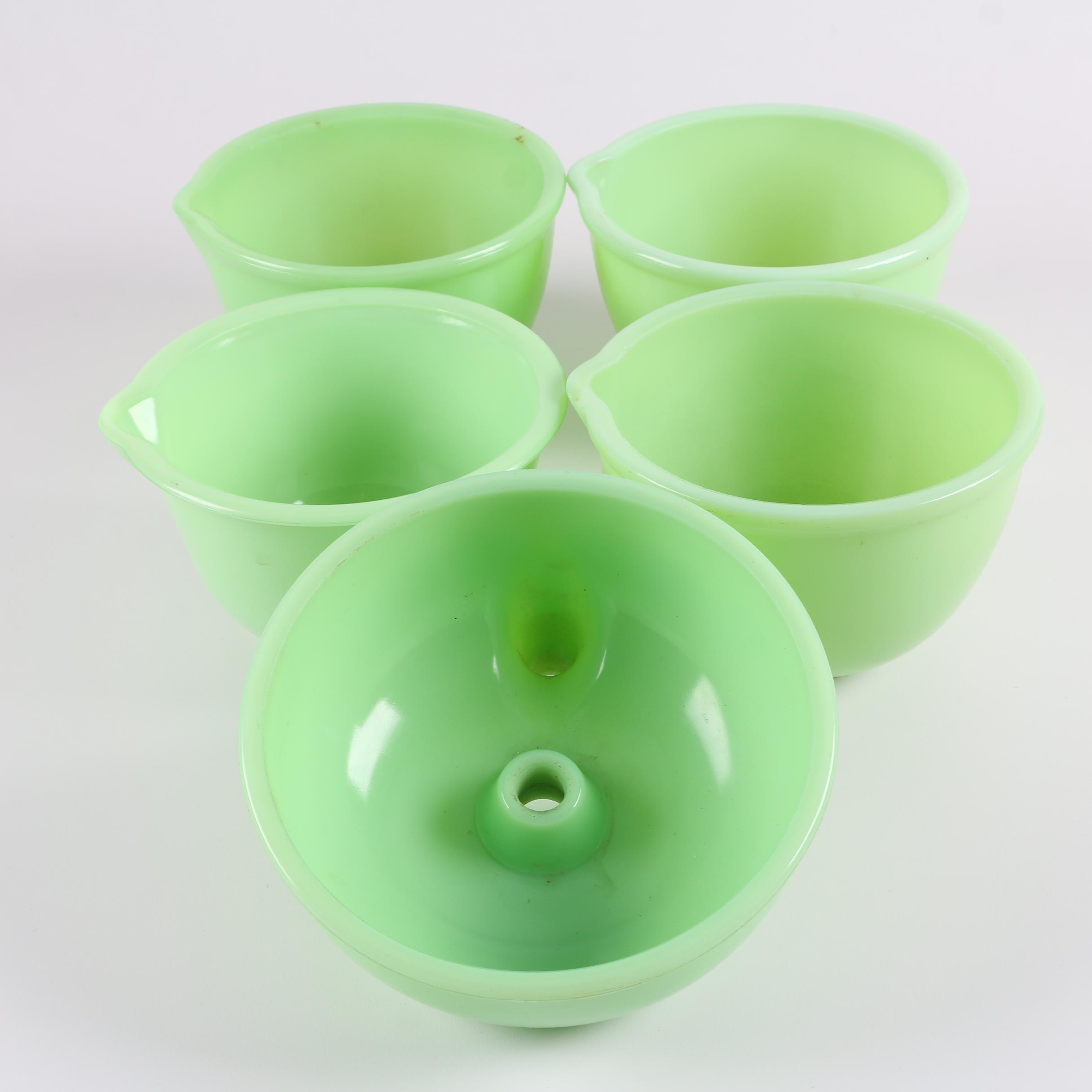 Vintage Green Milk Glass Mixing Bowls with a Juicer Attachment