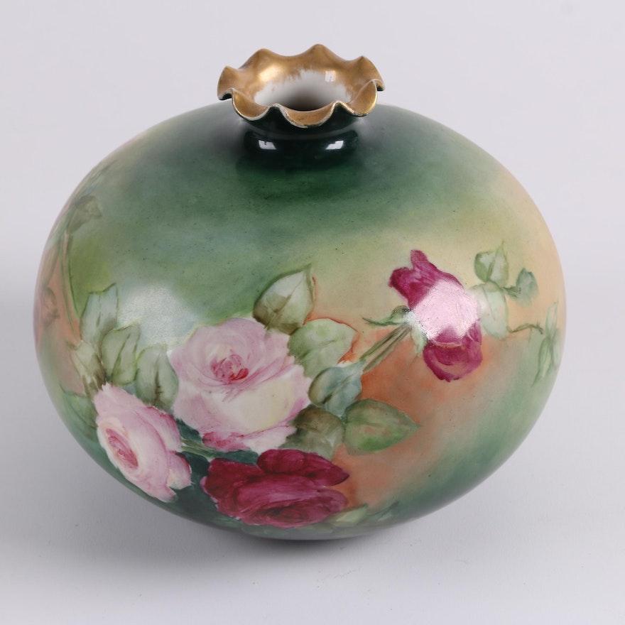 Antique Willets Belleek Hand Painted Vase C 1884 1909 Ebth