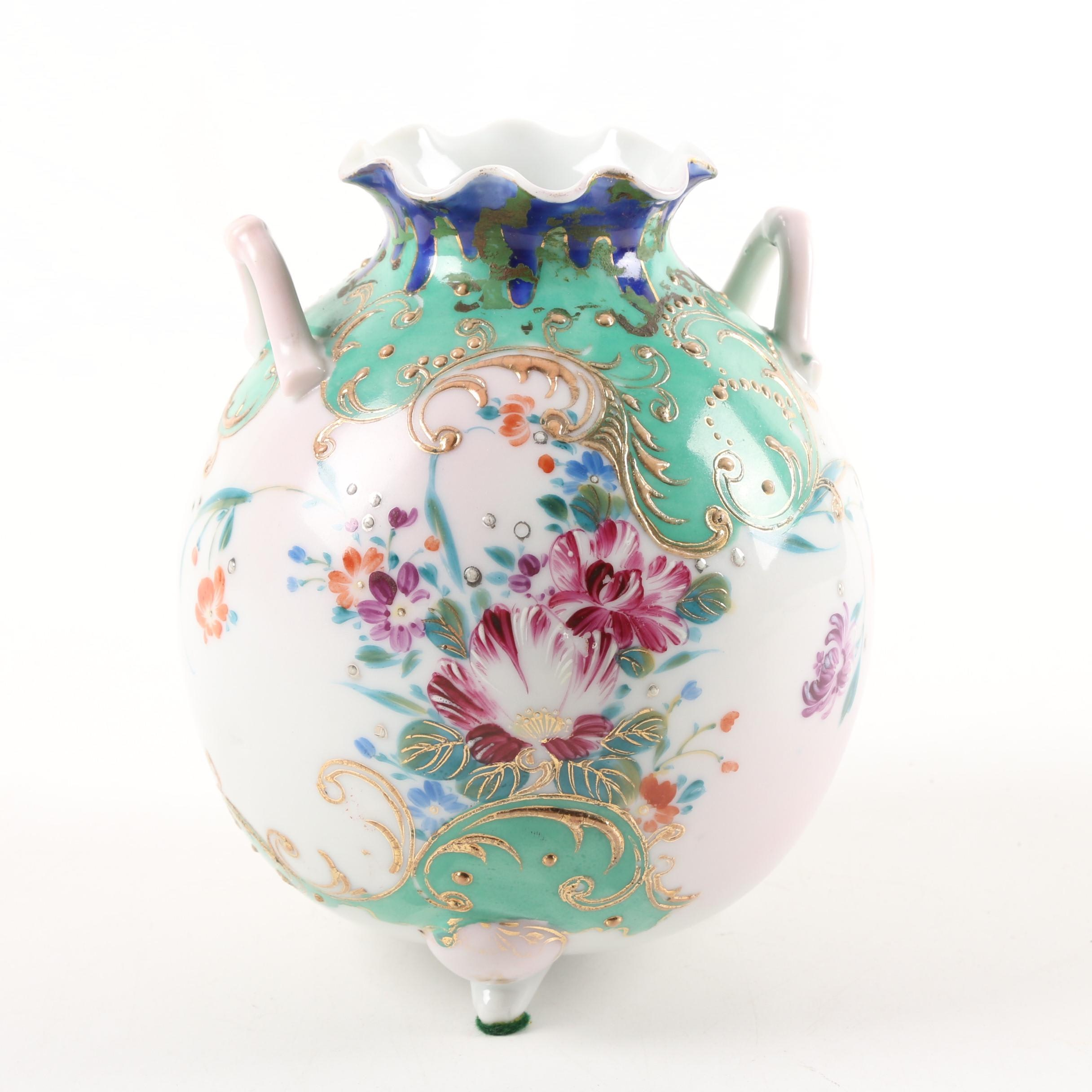 Japanese Vase with Jeweling and Gilded Moriage