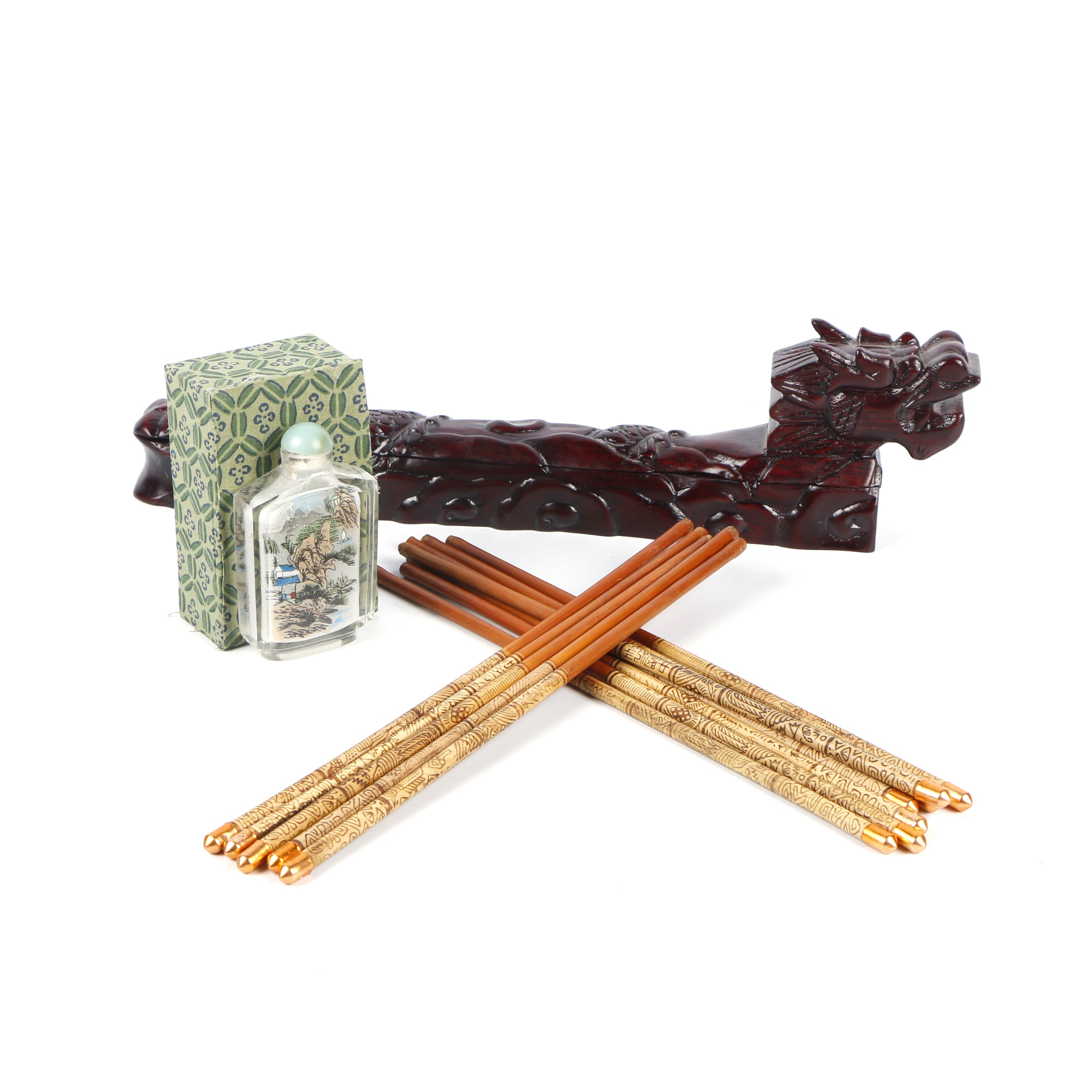 Chinese Carved Wood Dragon Chopstick Box with Chopsticks and Snuff Bottle