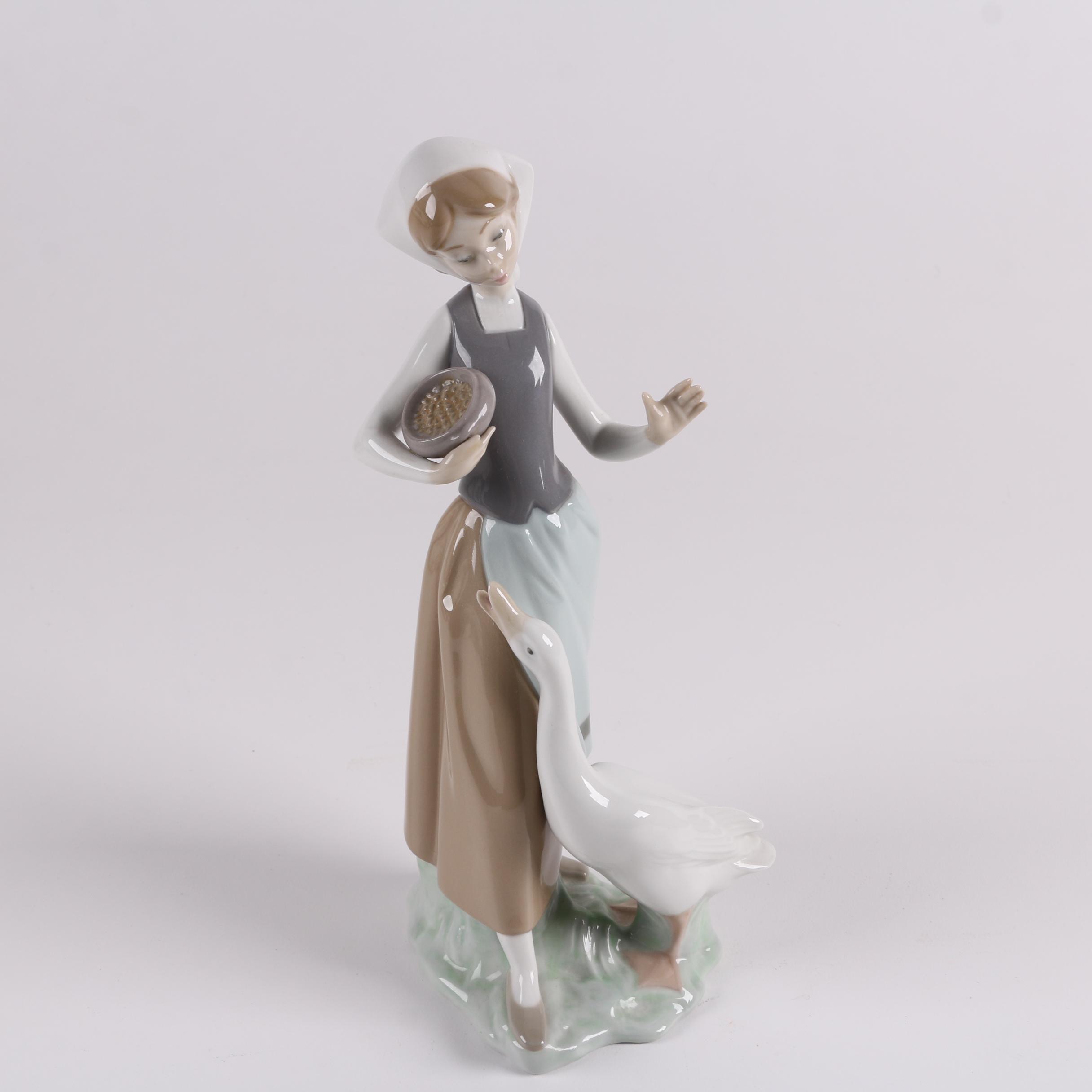 "Lladró ""Girl With Duck"" Porcelain Figurine"
