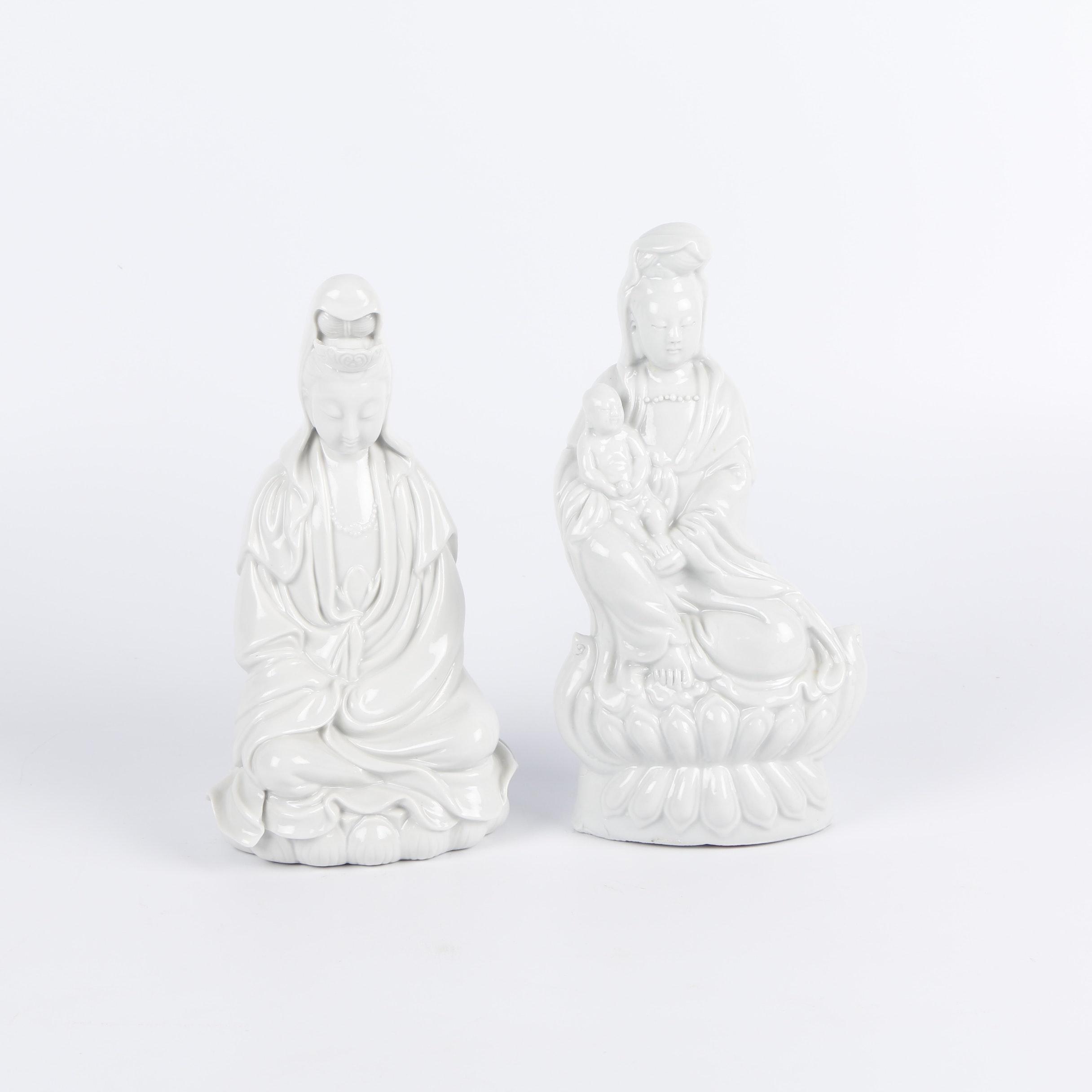 Chinese Guanyin Blanc-de-Chine Porcelain Figurines