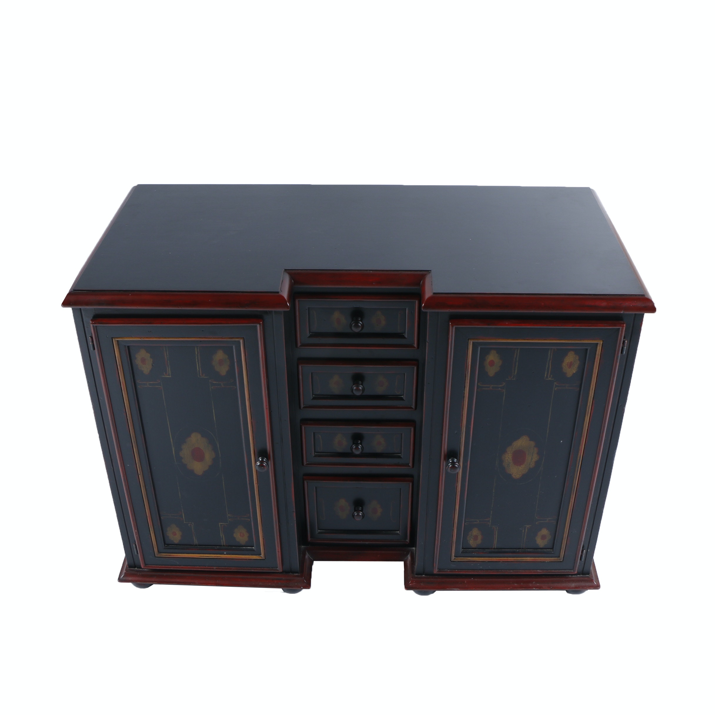 Block Front Black and Red Sideboard