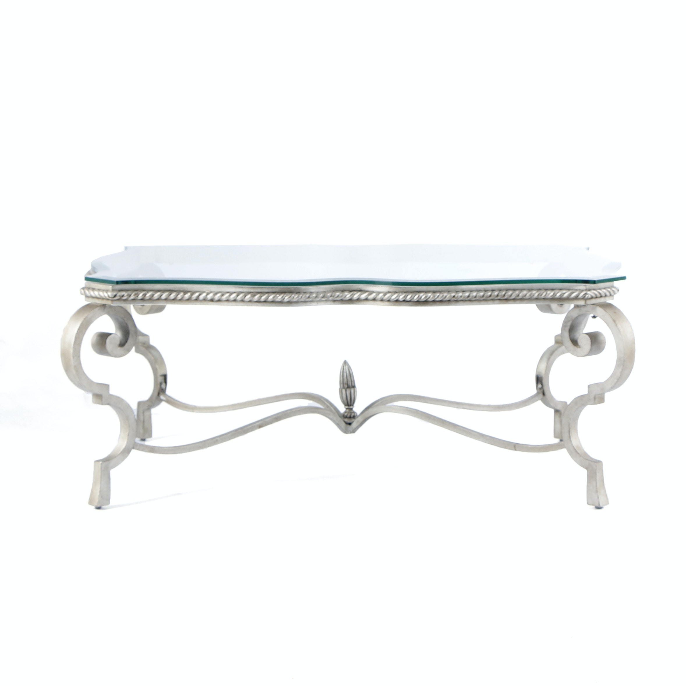 Contemporary Metal and Glass Coffee Table