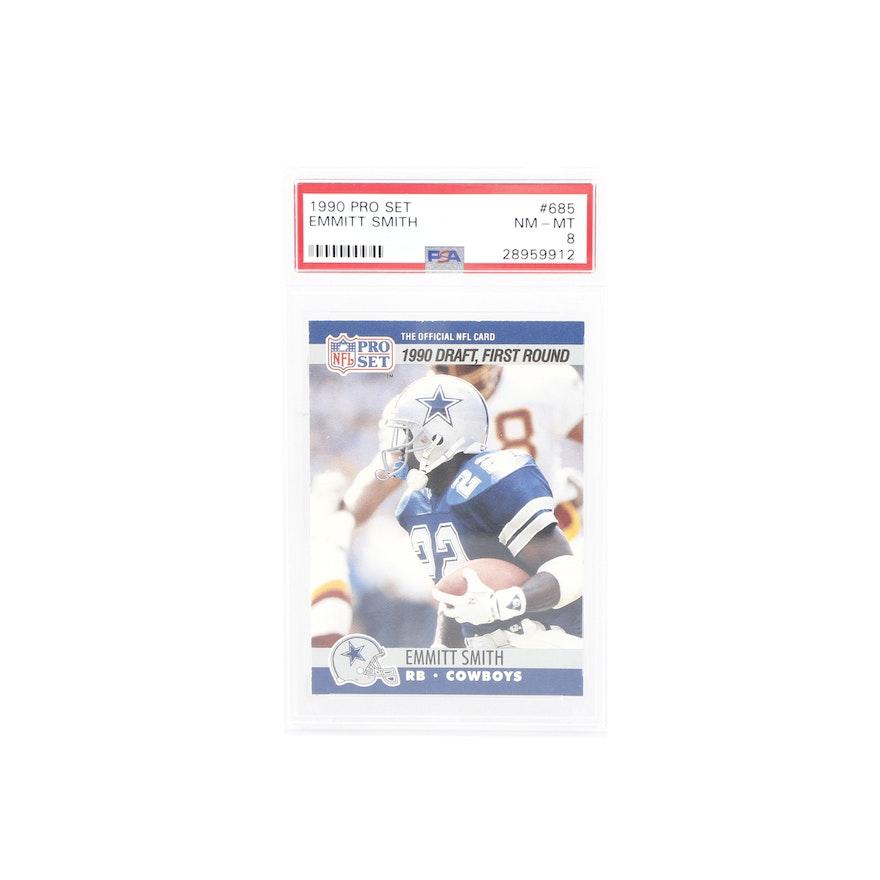 1990 Nfl Pro Set Psa Graded Emmitt Smith Rookie Card 685