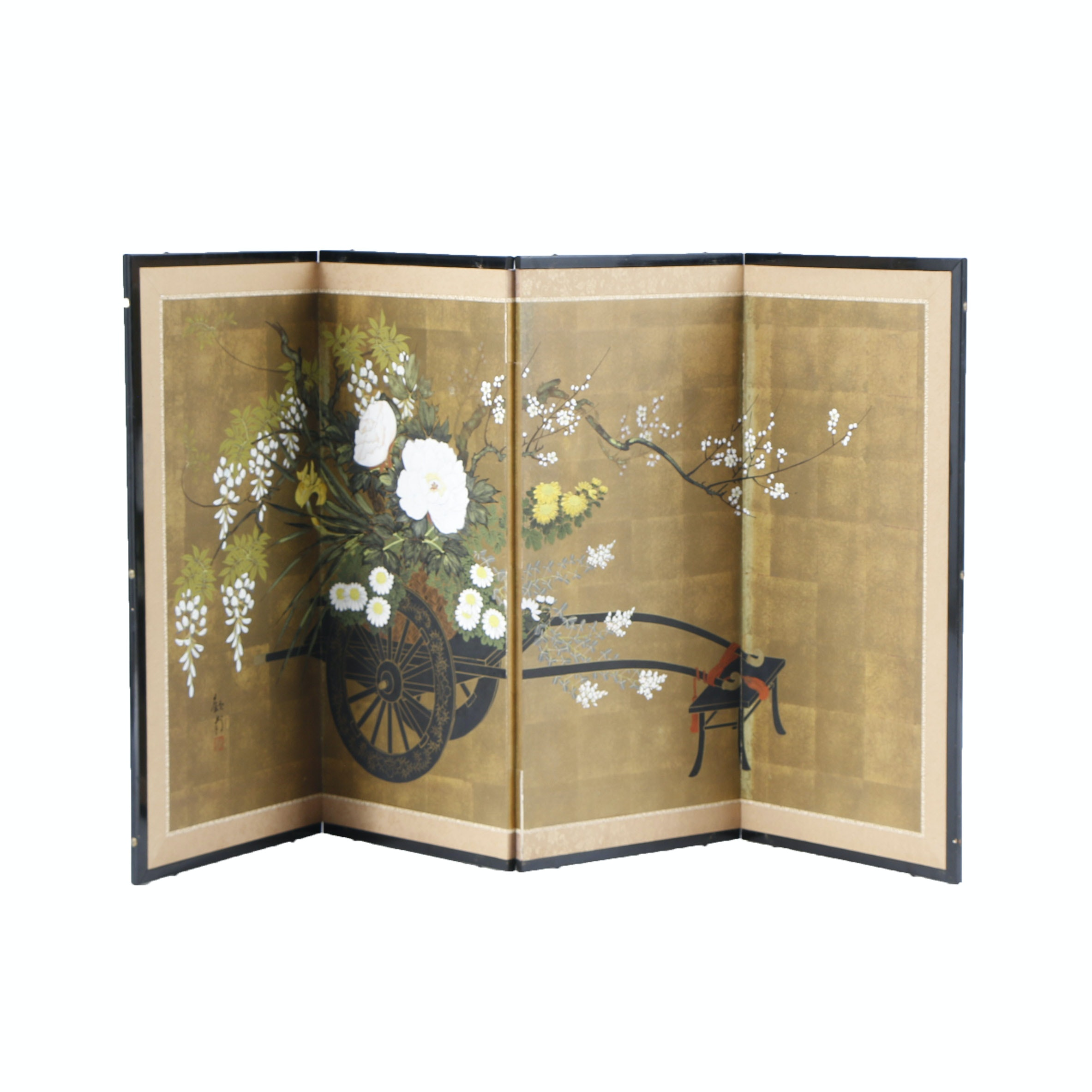 Japanese Hand Painted Four Panel Folding Screen