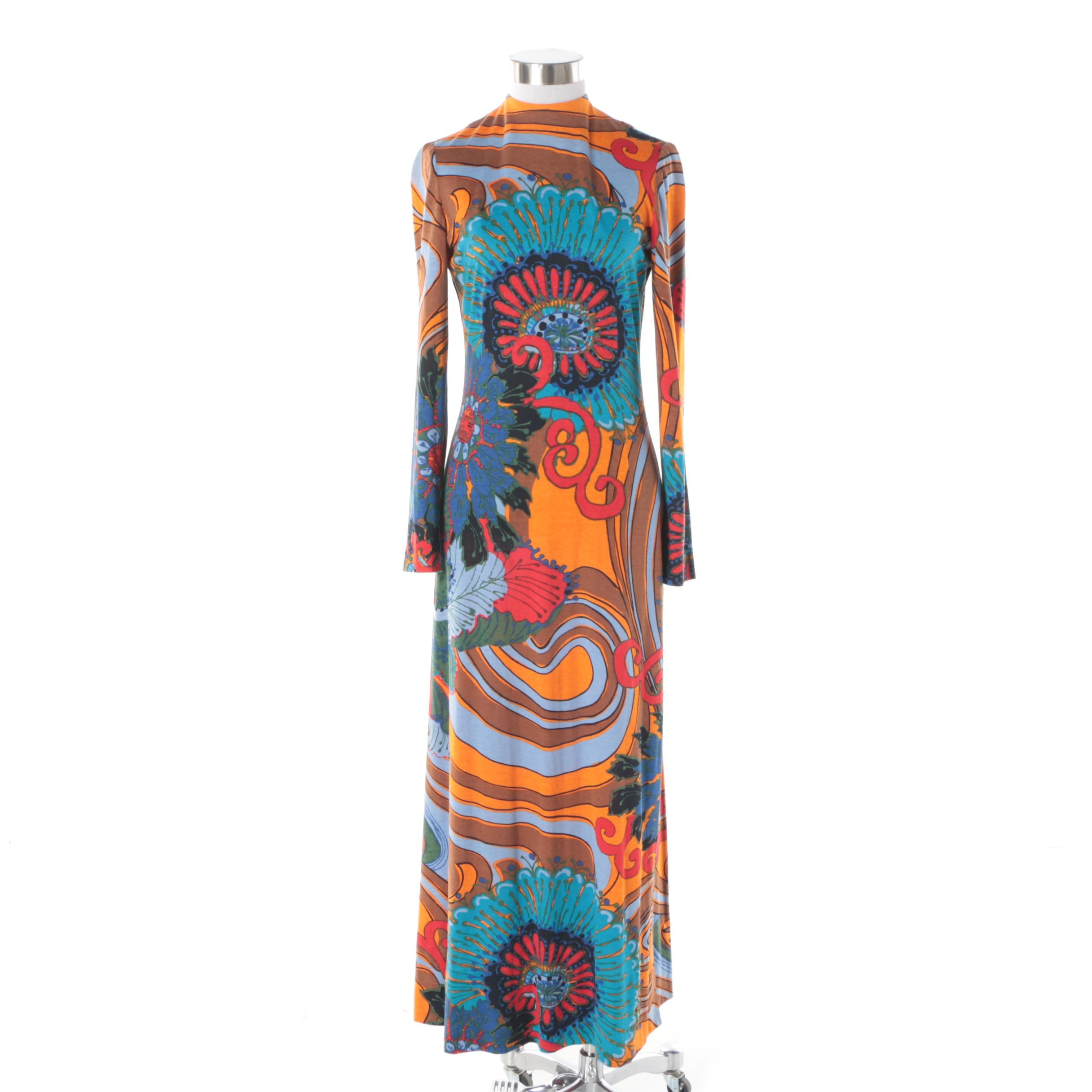 Circa 1960s Vintage Multicolored Psychedelic Floral Print Maxi Dress