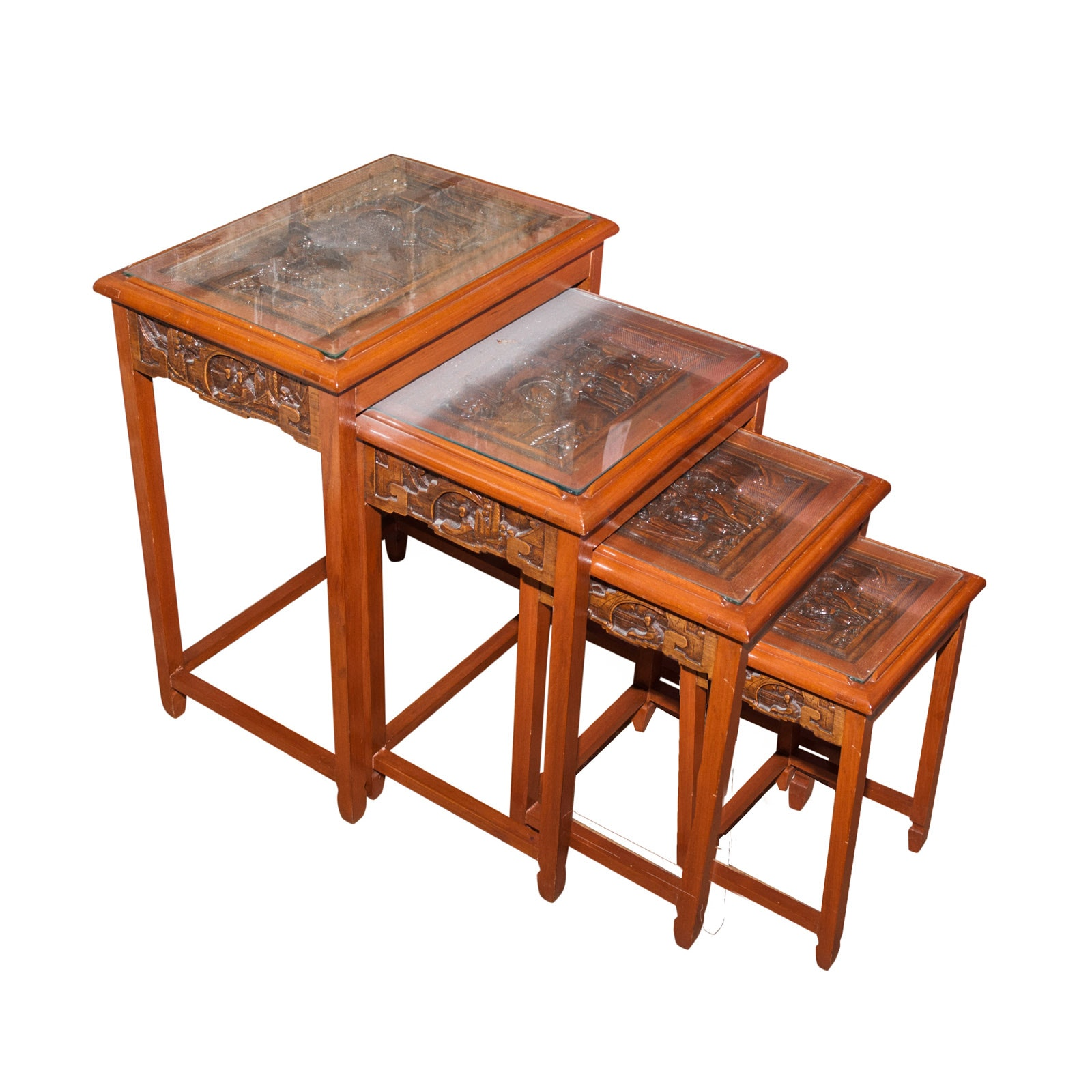 Chinese Carved Wood Nesting Tables